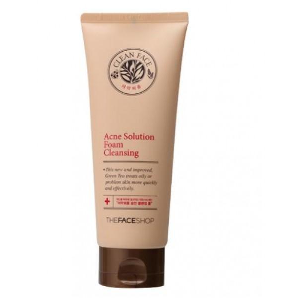 пенка для умывания для жирной кожи the face shop clean face acne foam cleansingClean Face Acne Foam Cleansing. Пенка для умывания для жирной кожи<br><br>Очищающая пенка для проблемной кожи с лечебным эффектом борется против угревой сыпи и появления прочих несовершенств.<br><br>Специальный растительный комплекс (вытяжка зелёного чая и ромашки) в составе пенки отлично очищает кожу и борется с акне.<br><br>Пенка помогает:<br><br><br>наладить работу сальных желез;<br><br>глубоко очистить лицо от микробов, жира, макияжа;<br><br>снять воспаление и успокоить кожу;<br><br>оказанию антибактериального действия;<br><br>предотвратить появление высыпаний.<br><br><br>Способ применения: Вспеньте в руках средство и нанесите массирующими движениями на кожу. Спустя минуту, смойте тёплой водой.<br><br>Объём: 150 мл<br>