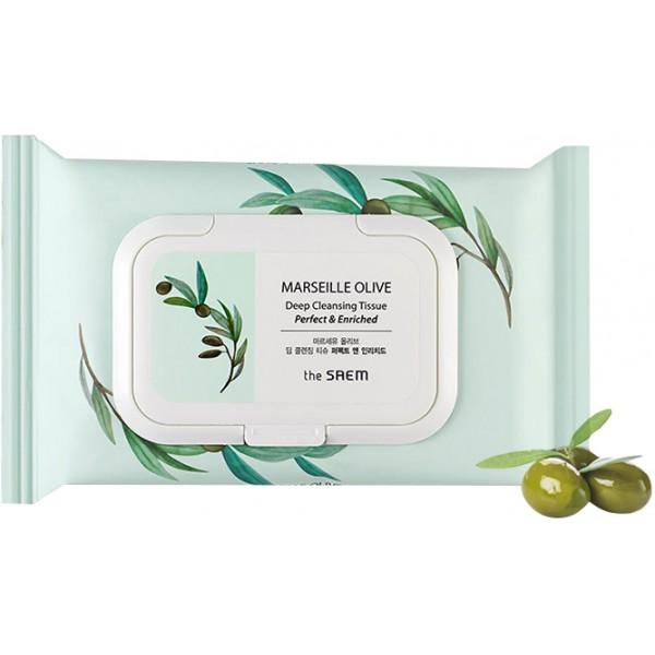 салфетки очищающие the saem marseille olive deep cleansing tissueMarseille Olive Deep Cleansing Tissue. Салфетки очищающие<br><br>Специальные очищающие салфетки пропитаны смесью оливкового масла и экстрактов лекарственных растений. Они деликатно очищают кожу от загрязнений и макияжа, смягчают и интенсивно увлажняют кожу.<br><br>Очищающие салфетки – возможность поддерживать чистоту и свежесть кожи в любое время дня, в любой ситуации, идеальны в поездках и путешествиях.<br><br>100% масло оливы – питает и смягчает кожу, оказывает омолаживающее действие, разглаживает имеющиеся морщины и предотвращает появление новых, повышает тонус и защитные свойства кожи.<br><br>Экстракт розмарина – оказывает общеукрепляющее, антиоксидантное, противовоспалительное действие, стимулирует кровообращение и обновление клеток эпидермиса, регулирует работу сальных желез, обладает солнцезащитными свойствами.<br><br>Экстракт папайи – оказывает антисептическое, очищающее и противовоспалительное действие, ускоряет заживление ранок, отшелушивает ороговевшие клетки, при этом способствует синтезу новых, здоровых клеток, стимулирует синтез коллагена, кожа становится упругой и эластичной, морщинки разглаживаются.<br><br>Экстракт меда – эффективно увлажняет, питает и смягчает кожу, восстанавливает поврежденные участки кожного покрова, омолаживает кожу, разглаживает ее и устраняет мелкие морщины, кожа становится более эластичной, уменьшается ее шероховатость, улучшается цвет лица.<br><br>Экстракт морского винограда (бурая водоросль) – насыщает кожу витаминами, микро- и макроэлементами, очищает от токсинов, предотвращает сухость, появление новых морщин и задержку лишней жидкости в подкожных слоях, повышает способность кожи противостоять агрессивным воздействиям окружающей среды.<br><br>Не содержит парабенов, продуктов животного происхождения, талька, бензофенона.<br><br>Способ применения: Протереть кожу лица, шеи и области декольте салфеткой. Использовать в течение дня по мере необходимости.<br><br>Коли