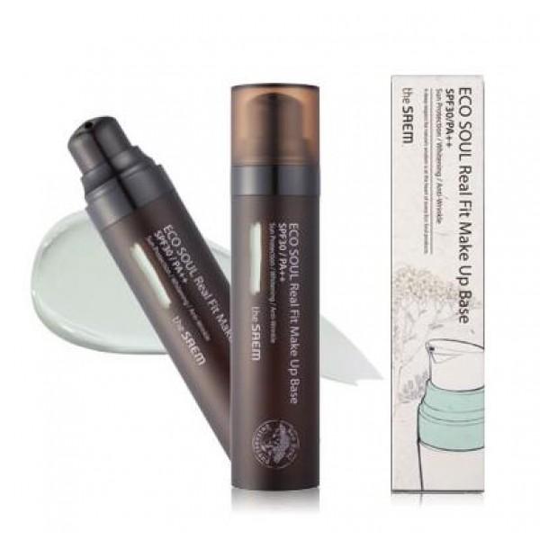 база под макияж the saem eco soul real fit makeup baseEco Soul Real Fit Makeup Base. База под макияж<br><br>База под макияж&amp;nbsp;поможет подготовить кожу к нанесению макияжа и сделает его более стойким. Кроме того, база помогает поддерживать в течение дня оптимальную увлажненность кожи, защищая её от пересушивания.<br><br>База под макияж, в составе которой ледниковая минеральная альпийская вода и экстракты альпийских трав, питает и смягчает кожу, разглаживает её поверхность, устраняет сухость и шелушения.<br><br>Минеральная вода – увлажняет, нормализует обменные процессы, ускоряет регенерацию клеток кожи, насыщает кожу полезными микро- и макро-элементами, выводит токсины.<br><br>Экстракт альпийских трав – придает коже упругость и эластичность, создает ощущение свежести и комфорта, делает кожу светлой и яркой.<br><br>Экстракт эдельвейса обладает уникальной способностью поглощать ультрафиолет, благодаря чему создается защитный и успокаивающий эффект. Экстракт эдельвейса в составе косметики идеален для чувствительной, подверженной стрессу, стареющей кожи, для предотвращения окислительных процессов, в результате которых образуются свободные радикалы.<br><br>Экстракт эдельвейса способствует улучшению цвета лица, разглаживает мимические морщинки, дарит коже красоту и молодость.<br><br>Выпускается в двух вариантах:<br><br><br>01 - Зеленая база под макияж – визуально улучшает состояние проблемной кожи, скрывает воспаления и покраснения.<br><br>02 - Фиолетовая база под макияж – для кожи с желтизной, для тусклой и пигментированной кожи.<br><br><br>Способ применения: Нанести средство на чистое лицо после основного ухода легкими похлопывающими движениями. Базу наносят, до нанесения тональных или ББ-кремов.<br><br>Объём: 40 мл<br>