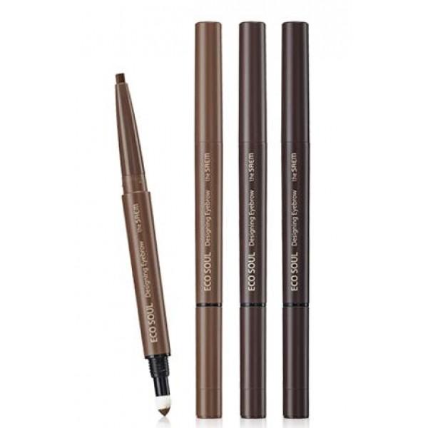 карандаш для бровей 3 в 1 the saem eco soul designing eyebrowEco Soul Designing Eyebrow. Карандаш для бровей 3 в 1<br><br>Правильная форма бровей очень важна для формирования идеальных черт лица. Для того, чтобы их контурирование стало быстрым и легким процессом, нужно использовать качественный карандаш.<br><br>Этот инструмент отличается особой мягкостью и яркостью оставляемых линий. Естественный цвет, представленный в трех оттенках, не привлекает слишком много внимания, делая брови выразительными без бросающихся в глаза пятен. У вас есть возможность подобрать идеальный для вашего лица цвет, в соответствии с типом и оттенком волос и кожи.<br><br>На втором конце этого карандаша присутствует специальная кисточка для растушевки и распределения цвета по площади брови – это значительно ускоряет процесс.<br><br>Оттенки:<br><br><br>01 Brown<br><br>02 Dark Brown<br><br>03 Grey Brown<br><br><br>Способ применения: Перед нанесением четких линий обозначьте легкими движениями карандаша границу брови. Затем медленно и отлажено проведите кончиком стержня по верхнему и нижнему контуру. Регулируйте изгиб бровей по овалу лица: если оно вытянуто вдоль, они должны бить прямее, если наоборот, то необходимо закруглить их.<br><br>Вес: 0.32 г<br><br>Вес г: 0.32000000