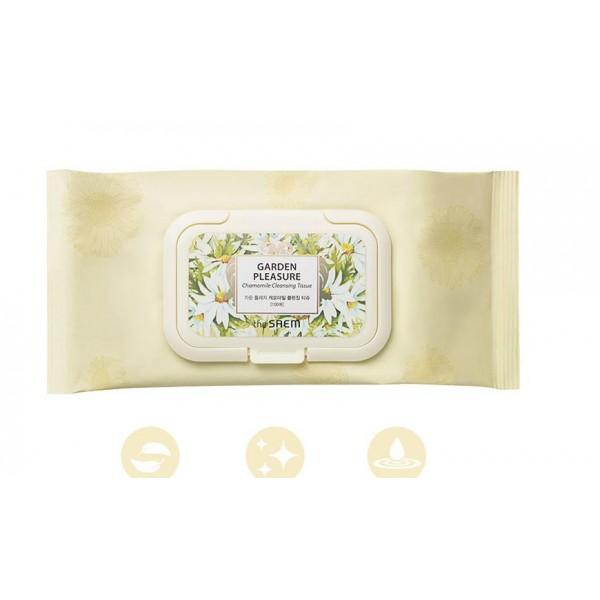 салфетки очищающие the saem garden pleasure chamomile cleansing tissueGarden Pleasure Chamomile Cleansing Tissue. Салфетки очищающие<br><br>Цветки ромашки богаты целебными веществами: эфирные масла, органические кислоты, флавоноиды, гликозиды, фитостерин, холин, витамины В1, В2 и др. Ромашка оказывает бактерицидное, противовоспалительное и успокаивающее действие, а также стимулирует кровообращение, ускоряет регенерацию клеток.<br><br>Салфетки с экстрактом ромашки&amp;nbsp;подходят для любого типа кожи, но особенно рекомендуются для проблемной, сухой и чувствительной кожи, не вызывают аллергических реакций, подходят для ухода даже за самой чувствительной кожей.<br><br>Нежные салфетки деликатно очищают кожу, мягко удаляют с ее поверхности повседневные загрязнения, кожный жир, остатки макияжа, а также интенсивно увлажняют, питают и смягчают кожу, освежают и осветляют её.<br><br>Очищающие салфетки незаменимы во время отпуска или поездки на дачу, а также пригодятся для повседневного ухода за кожей лица.<br><br>Способ применения: открыть упаковку, достать салфетку и протереть ей кожу.<br><br>Количество: 100 шт.<br><br>Вес г: 50.00000000
