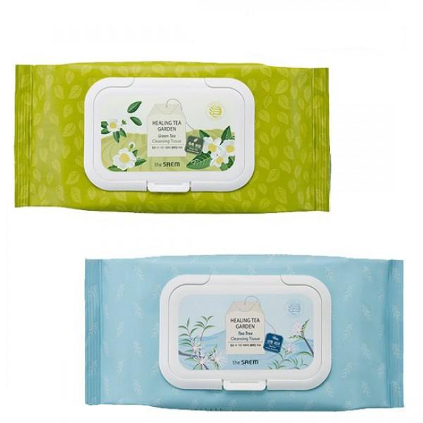 салфетки очищающие the saem healing tea garden cleansing tissueHealing Tea Garden Cleansing Tissue. Салфетки очищающие<br><br>Влажные очищающие салфетки – незаменимое средство для кожи во время путешествий, поездки на дачу, долгих прогулок и экскурсий. Также салфетки пригодятся и в течение долгого рабочего дня и в других ситуациях, когда требуется очищение или освежение кожи.<br><br>Экстракты, которыми пропитаны салфетки, обладают антисептическими и антибактериальными свойствами, подавляют рост бактерий, не нарушая естественного баланса кожи, успокаивают ее и увлажняют.<br><br>Салфетки представлены 2 вариантами:<br><br><br>салфетки с экстрактом зеленого чая<br><br><br>Экстракт зеленого чая увлажняет и питает кожу, оказывает регенерирующее действие, стимулирует синтез собственного коллагена кожи. Компоненты зеленого чая обладают хорошей проникающей способностью, поэтому воздействуют на самые глубокие слои эпидермиса. Зеленый чай – мощный природный антиоксидант, защищает кожу от негативного воздействия свободных радикалов.<br><br><br>салфетки с экстрактом чайного дерева<br><br><br>Чайное дерево оказывает противовоспалительное действие, подавляет размножение болезнетворных бактерий, грибков и вирусов, укрепляет иммунную систему, успокаивает раздраженную кожу, ускоряет заживление. Кроме того, стимулирует образование новых клеток, повышает эластичность и упругость кожи, выводит токсины, устраняет обезвоженность и сухость кожи, делает её ровной и сияющей изнутри.<br><br>Широкая поверхность салфетки поможет быстро и эффективно освежить кожу без использования мыла и воды. Запатентованный состав пропитки салфеток не вызывает раздражения, не закупоривает поры кожи, не оставляет чувства липкости кожи после использования.<br><br>Способ применения: Протирать кожу лица в течение дня по мере необходимости.<br><br>Количество: 60 шт.<br><br>Вес г: 260.00000000