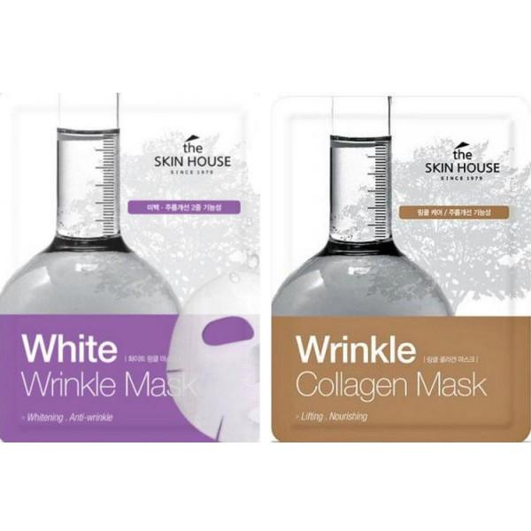 тканевая маска для лица the skin house wrinkle mask renewWrinkle Mask Renew.&amp;nbsp;Тканевая маска для лица<br><br>Тканевая маска – одно из самых простых в применении, очень приятных и максимально эффективных средств по уходу за кожей лица.<br><br><br>White Wrinkle Mask Renew - Тканевая маска от морщин и пигментации<br><br><br>Маска для тех, кто хотел бы выровнять тон кожи и осветлить пигментацию, а также разгладить мелкие морщины и уменьшить выраженность глубоких. В составе маски компоненты с доказанной омолаживающей и осветляющей эффективностью, такие как ниацинамид и аденозин, а также комплекс натуральных экстрактов (огурца, алое, мёда, плодов лимонника, листьев китайской камелии).<br><br>Ниацинамид – мощный регулятор клеточного метаболизма, ускоряет жизненно важные процессы, что весьма полезно для увядающей кожи. Он увеличивает синтез коллагена, керамидов и жирных кислот в поверхностном слое кожи, предотвращает потерю влаги, благодаря чему улучшается внешний вид сухой или поврежденной кожи, исчезают шелушения, восстанавливается однородность и целостность кожного покрова. Является сильным антиоксидантом, защищающим кожу от агрессивного воздействия ультрафиолета и свободных радикалов. Одно из главных свойств ниацинамида – его способность осветлять пигментные пятна, корректировать неровный тон кожи и смягчать следы постакне и поствоспалительную гиперпигментацию. Также ниацинамид улучшает эластичность кожи, повышает ее барьерную функцию, оказывает противовоспалительное действие.<br><br>Аденозин – эффективный антивозрастной компонент, не разрушается под воздействием тепла и света, регулирует окислительно-восстановительные процессы в клетках кожи, ускоряет регенерацию клеток кожи, благодаря этому замедляются процессы старения, кожа приобретает эластичность и упругость, морщины становятся менее глубокими.<br><br>Маска интенсивно увлажняет и освежает кожу уже после первого применения, а при регулярном использовании выравнивает тон и способствует разглаживанию морщин –
