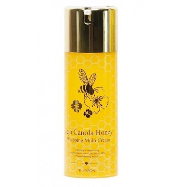 крем для лица антивозрастной the yeon jeju canola honey wrapping multi creamJeju Canola Honey Wrapping Multi Cream. Крем для лица антивозрастной<br><br>Крем восстанавливает эластичность, улучшает жизненный тонус и способствует интенсивному увлажнению кожи.<br><br>Флакон блокирует попадание воздуха, благодаря чему средство не окисляется и сохраняет эффективность средства длительное время.<br><br>В состав меда входит 15–20% воды, до 70% сахаров, а также протеины, аминокислоты, витамины С, D, ферменты, органические кислоты, минеральные соли калия, кальция, натрия, магния, железа, меди, кобальта, фосфора, серы, кремния, антибактериальные вещества, пыльца, воск, пигменты.<br><br>Хорошо увлажняет, смягчает и питает кожу, стимулирует водно-солевой и жировой обмен в эпидермальных клетках, оказывает регенерирующее и очищающее действие, облегчая удаление ороговевших клеток.<br><br>Экстракт киви богат витамином С, аминокислотами, сахарами, пектином, солями фосфора и железа, фруктовыми кислотами, ферментами. Используется в качестве увлажняющего и питающего кожу компонента, благоприятно влияющего на обменные процессы в клетках кожи.<br><br>Способ применения: Нанесите крем на кожу мягкими, круговыми движениями.<br><br>Объем: 100 мл<br>