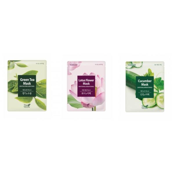 маска для лица тканевая the yeon maskMask. Маска для лица тканевая<br><br><br>Green Tea Mask. Маска для лица тканевая восстанавливающая с экстрактом зеленого чая<br><br><br>В основе эссенции, которой пропитана маска, чистейшая вода канадских ледников, а также экстракт зеленого чая.<br><br>Зеленый чай – вкусный и полезный напиток, который не только утоляет жажду, но и насыщает наш организм сильнейшими антиоксидантами, замедляющими процессы старения, а также уберегающими нас от воздействия свободных радикалов.<br><br>Маска с зеленым чаем способствует очищению кожи и сужению пор, оказывает антисептическое и антибактериальное действие, снимает воспаления и покраснения, устраняет излишнюю жирность, улучшает циркуляцию крови и лимфы, укрепляет стенки сосудов, а также выводит шлаки и токсины.<br><br><br>Lotus Flower Mask. Маска для лица тканевая осветляющая с экстрактом лотуса<br><br><br>Экстракт лотоса обладает успокаивающим действием, укрепляет клетки кожи, содержит витамин С, нелумбин, нуфарин, арменавин и минеральные соединения. Так же обладает биостимулирующим, общеукрепляющим, противовоспалительным действием, улучшает кровообращение. Стимулируют активность клеток кожи, замедляют процессы старения, предотвращают образование морщин и делают кожу гладкой и эластичной.<br><br>Ежедневная маска обеспечивает питание и увлажнение кожи, восстанавливает ее защитные функции, активизирует обменные процессы в коже. Увлажняет кожу, нормализует ее гидро-липидный баланс, активизирует процессы обновления кожи.<br><br>Рекомендована как средство для экспресс-ухода за кожей.<br><br><br>Cucumber Mask. Маска для лица тканевая успокаивающая с экстрактом огурца<br><br><br>Огурец придает коже упругость и эластичность, разглаживает сеть мимических морщинок, обладает лифтинговым действием. Повышает степень увлажнения и позволяет поддерживать оптимальный уровень содержания влаги, обеспечивает сопротивляемость кожи воздействию свободных радикалов.<br><br>Способ применения: Нанести маску на очище