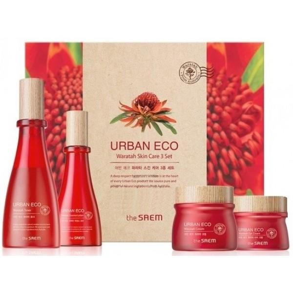 набор уходовый с экстрактом телопеи the saem urban eco waratah skin care 3 setUrban Eco Waratah Skin Care 3 Set. Набор уходовый с экстрактом телопеи<br><br>Набор для ухода за кожей состоит из 4 полноценных средств: тонера (180 мл), лосьона (140 мл), крема (60 мл) и крема для кожи вокруг глаз (30 мл).<br><br>В составе средств экстракт телопеи, который помогает коже поддерживать ее естественную упругость, способствует глубокому мгновенному увлажнению и поддержанию оптимального уровня влаги в течение долгого времени, а также предупреждает развитие первых признаков старения.<br><br>Средства оказывают на кожу интенсивнее воздействие: повышают эластичность, увеличивают прочность соединительных тканей, активно восстанавливаеют структуру кожи, повышают тургор, увлажняют, делают мелкие морщинки менее заметными, выравнивают тон кожи, осветляя пигментацию.<br><br>Также в составе средств ниацинамид, керамиды, аденозин, масло виноградных косточек, и комплекс не менее экзотических, чем телопея, масел и экстрактов, которые увлажняют кожу, снимают воспаления и покраснения, питают и смягчают, оказывают общее омолаживающее воздействие.<br><br>Способ применения: Смочить тонером ватный диск и протереть им кожу сразу после умывания, нанести эмульсию, затем нанести крем и крем для кожи вокруг глаз.<br><br>Объём: 180 мл + 140 мл + 60 мл + 30 мл<br>