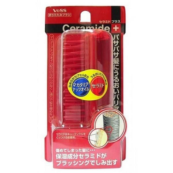 щетка складная для увлажнения волос vess ceramide compact brush