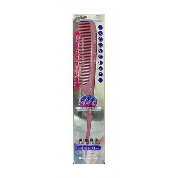 расчёска для ослабленных волос с минералами vess comb mineralion brushComb Mineralion Brush. Расчёска для сухих,ослабленных волос с минералами горных пород рекомендуется для потерявших жизненную силу и естественный блеск волос.<br><br>Окрашенные и после химической завивки, пересушенные горячим воздухом фена, подверженные действию ультрафиолетового излучения волосы склонны к ломкости и потере влаги. Чешуйки кутикулы волоса отслаиваются, в результате чего повышается проницаемость волоса. Через образовавшиеся в его поверхности промежутки волос теряет необходимые для здорового роста воду, липиды, белки.<br><br>Щетка содержит природные минералы горных пород с эффектом выделения отрицательно заряженных ионов в результате ультракрасного излучения. Ультракрасные лучи активизируют кровообращение в клетках кожи головы, что стимулирует и ускоряет рост волос, повышают способность волос удерживать и сохранять влагу, что предотвращает сухость и ломкость волос.<br>Преимущества использования природных минералов горных пород:<br><br>Степень излучения ультракрасных лучей минералами горных пород выше, чем у древесного угля;<br>Излучение происходит не только при первом использования расчёски, но продолжается и после, даже после контакта расчёски с водой;<br>Степень излучения ультракрасных лучей, в результате которого выделяются отрицательно заряженные ионы, достаточно высокая, эффект заметен сразу же после расчёсывания.<br><br>Внимание при применении:Не используйте при заболеваниях или повреждениях кожи головы. Избегайте продолжительного воздействия горячего воздуха фена, что может привести к изменению формы щетки. Не используйте одновременно с применением специальных средств для расчёсывания или для выпрямления спутанных волос, что может повлиять на качество щетки.<br>По мере загрязнения ополосните щетку тёплой водой, хорошо обсушите на воздухе, без специальных средств для сушки.<br><br>Состав: ручка - AВS древесная смола, зубцы - полиэтилен с природными минералами горных пород и эффе