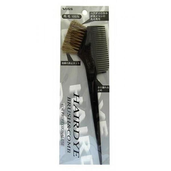 гребень c щеткой для окрашивания волос vess hairdye brush and combHairdye Brush and Comb. Гребень c щеткой для профессионального окрашивания волос (большой)<br><br>Упругий натуральный конский волос кисти прекрасно подходит для равномерного нанесения краски, способствует глубокому прокрашиванию волос. Ровно подстриженные густые волоски препятствуют стеканию краски с кисти - краска ложится ровным, густым слоем. <br><br>Рифлёная (в виде выступающих пузырьков) поверхность корпуса кисти у основания щетинок препятствует скольжению кисти в руке, даже при использовании защитных перчаток во время окрашивания. На ручке-кисти выступающие отметки-дозаторы для измерения количества жидкой краски. Ручка кисти опускается в тюбик с намешанной краской и фиксирует уровень оставшейся краски.<br><br>Меры предосторожности: после использования ополоснуть обычной водой, при сильных загрязнениях - водой с добавлением моющего средства средней кислотности, просушить щетинками кисти вниз. Во избежание повреждения натуральных щетинок кисти (ухудшение качества, выпадение) особенно при использовании для окрашивания волос осветлителей и щелочных красок, обязательно ополаскивайте кисть водой. Храните в сухом чистом виде.<br><br>Состав: Материал ручки и гребня - полипропиленовая смола, материал щетинок - 100% натуральный конский волос.<br>