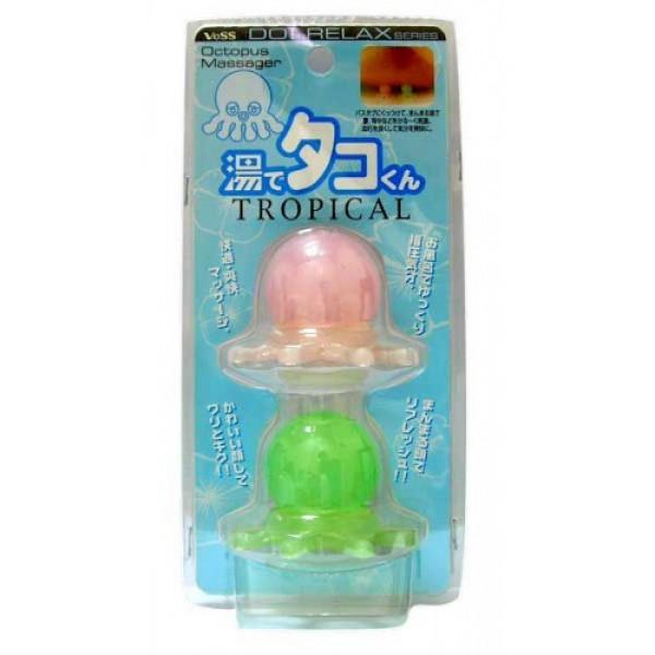 массажер для точечного массажа тела vess tako tropical tsubo oshiTako Tropical Tsubo Oshi. Массажер для точечного массажа тела тропические осьминожки используется для релаксации во время приёма ванны (крепятся на внутреннюю поверхность ванны для точечного воздействия на плечи, спину, поясницу, стопы или другие требующие точечного массажа участки тела). <br><br>Вы ощутите точечное действие тропических осьминожков подобно ощущениям при точечном массаже шиацу.<br>Тропические осьминожки могут стать элементом дизайна в интерьере ванной комнаты.<br><br>Внимание при использовании: Избегайте слишком интенсивного надавливания. Не используйте при заболеваниях или повреждениях кожи, при особенно чувствительной коже. Крепите на ровные, гладкие, прозрачные (а также зеркальные) не крепите на повреждённые, а также горячие поверхности.<br><br>В зависимости от средства для приёма ванны цвет присоски может измениться.<br>После использования во время приёма ванны обсушите.<br>Храните в недоступных для детей местах.<br><br>Состав: материал верхней части осьминожка - синтетическая резина, материал нижней части щупалец осьминожка - AS древесная смола, материал присоски эластомер.<br>