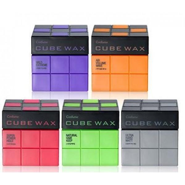 воск для укладки волос  welcos confume cube waxConfume Cube Wax.&amp;nbsp;Воск для укладки волос<br><br>Необычный дизайн воска позволяет его не только использовать по назначению – для укладки волос, но и в качестве привлекательного декоративного элемента дома и даже в офисе, на рабочем столе.<br><br>Воск находится в удобной и стильной баночке-кубе, текстура воска кремовая, не утяжеляющая волосы. В зависимости от вида желаемой прически можно выбрать более легкий воск или, наоборот, супер-сильной фиксации.<br><br>Состав воска натуральный, его компоненты не повредят волосам и не спровоцируют появление проблем кожи головы.<br><br>Варианты воска по силе фиксации и блеску:<br><br>01. Confume Cube Wax Ultra Hard Matt – спортивный стиль, матовая текстура. Фиксация 5/5, блеск 0/5.<br><br>02. Confume Cube Wax Wild Extreme – взъерошеннность, естественный блеск. Фиксация 5/5, блеск 1/5.<br><br>03. Confume Cube Wax Super Power Hold – сильна фиксация. Фиксация 4/5, блеск 1/5.<br><br>05. Confume Cube Wax Air Volume Wave – легкая объемная волна. Фиксация 2/5, блеск 3/5.<br><br>04. Confume Cube Wax Natural Hair Keep – естественная укладка. Фиксация 3/5, блеск 3/5.<br><br>Способ применения: Нанести на волосы и создать укладку.<br><br>Вес: 80 г<br><br>Вес г: 80.00000000