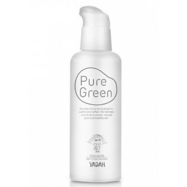 эмульсия для лица увлажняющая yadah pure green emulsionPure Green Emulsion.&amp;nbsp;Эмульсия для лица увлажняющая<br><br>Неправильное питание, стрессы, недостаток сна, возраст и многое другое становятся причинами того, что собственной влаги коже становится недостаточно, из-за чего она (кожа) становится тусклой, сухой, вялой, появляются морщины.<br><br>Предупредить возникновение этих неприятностей, а также уменьшить уже существующие проблемы помогают средства серии Pure Green Moisturizing. Средства увлажняют кожу снаружи, создавая тонкую дышащую пленку, которая предупреждает испарение жидкости с поверхности кожи. Средства увлажняют кожу изнутри, так как их активные компоненты способны проникать в глубокие слои кожи. Кроме того, средства стимулируют обменные процессы в коже, благодаря чему усиливается собственная естественная гидратация.<br><br>Эмульсия - средство с легкой освежающей текстурой, интенсивно увлажняет кожу. Эмульсия быстро впитывается, обеспечивает длительное увлажнение кожи, устраняет сухость и шелушения, освежает кожу, дарит ей чувство комфорта в течение всего дня.<br><br>В составе эмульсии маточное молочко – настоящее произведение искусства, созданное природой, является биологическим стимулятором, источником углеводов, белков, жиров, аминокислот, фруктозы, глюкозы, витаминов и минералов. Проникая в кожу, маточное молочко мгновенно увлажняет ее, питает, стимулирует регенерацию клеток, усиливает защитные функции кожи, способствует разглаживанию мелких морщин.<br><br>Также эмульсия содержит Moist Coating комплекс - комплекс из 10 натуральных экстрактов (ромашка, алоэ вера, василек и др.), которые обеспечивают кожу влагой как снаружи, так и изнутри, успокаивают кожу, снимают покраснения и раздражения, обеспечивают антиоксидантную защиту кожи.<br><br>Регулярное применение эмульсии делает кожу увлажненной, свежей, сияющей, наполняет объемом, способствует разглаживанию морщин, замедляет процессы старения.<br><br>Способ применения: Нанести на очищенную и тон