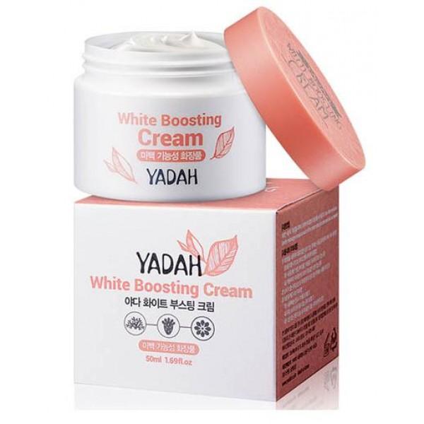 крем для лица осветляющий yadah white boosting creamWhite Boosting Cream.&amp;nbsp;Крем для лица осветляющий<br><br>Функциональный крем, сертифицированный KFDA как осветляющее средство. Предназначен для любого типа кожи с пигментацией, а также для тусклой кожи.<br><br>В составе крема высокое содержание натуральных компонентов и минимальное содержание химических ингредиентов, благодаря чему крем может применяться для очень чувствительной кожи.<br><br>Крем содержит экстракты растений, которые естественным образом и совершенно безопасно для кожи способствует осветлению пигментации. Активные компоненты крема проникают в глубокие слои и там подавляют синтез меланина, который провоцирует появление пигментных пятен.<br><br>Помимо основного, осветляющего, действия, крем способствует увлажнению и питанию кожи, нормализует баланс влаги и кожного жира, а также &amp;nbsp;обеспечивает защиту от воздействия различных факторов внешней среды. Антиоксиданты в составе крема предупреждают преждевременное старение кожи.<br><br>Регулярное применение крема способствует осветлению кожи, делает ее свежей и сияющей, более гладкой и упругой.<br><br>Способ применения: Нанести на очищенную и тонизированную кожу.<br><br>Объём: 50 мл<br>
