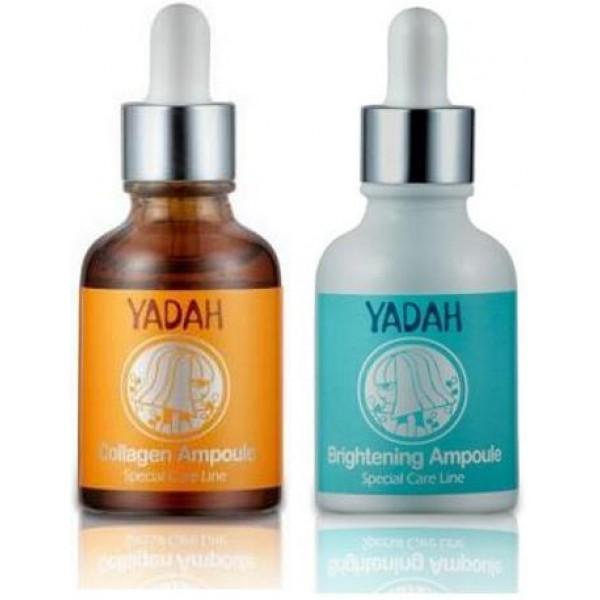 ампульная сыворотка yadah ampouleAmpoule. Ампульная сыворотка<br><br><br>Brightening Ampoule.&amp;nbsp;Ампульная сыворотка для сияния кожи с нано-липосомами<br><br><br>Ампульная сыворотка для сияния кожи с нано-липосомами улучшает цвет лица, осветляет кожу, борется с пигментацией.<br><br>В составе компоненты увлажняющие кожу, сокращающие морщины.<br><br>Это витамины В3, Е, С. Растительные экстракты моркови, сафлоры, камелии, белой шелковицы, пиона, хризантемы и бамбука.<br><br>Нано-липосомы доставляют полезные компоненты в глубину клеточек. Для всех типов кожи, для любого возраста.<br><br>Средство содержит глубоководный морской коллаген (15 мг), экстракт зеленого чая, экстракт моркови, экстракт женьшеня, экстракт бамбука, экстракт маш и т.д.<br><br>Сыворотка обладает антиоксидантным действием, эффективно замедляет процессы старения, повышает тонус кожи, снимает стресс и обеспечивает кожу питательными веществами.<br><br><br>Collagen Ampoule.&amp;nbsp;Ампульная сыворотка с морским коллагеном<br><br><br>Коллаген интенсивно наполняет кожу упругостью и не дает ей деформироваться. Коллагеновые волокна поддерживают кожу изнутри, придают ей свежесть и гладкость, именно поэтому коллаген для лица очень важен для сохранения молодости кожи. Способен впитывать и держать влагу в подкожной прослойке, что обеспечивает коже постоянную увлажненность. Что, в свою очередь, является одним из важнейших факторов, влияющих на отсутствие морщин.<br><br>Полифенолы зеленого чая оказывают также противовоспалительное и антибактериальное действие, способствуют проникновению биологически активных веществ в кожу. Содержащийся в экстракте кофеин улучшает микроциркуляцию крови и питание кожи, уменьшает отечность; танины придают коже упругость. Экстракт богат эфирными маслами и витаминами С, К и группы В. Витамин В2, содержащийся в зеленом чае, обладает ранозаживляющими свойствами. Помимо этого зеленый чай активизирует кровообращение, снабжает клетки кислородом, усиливает защитные свойства кожи. Дуби