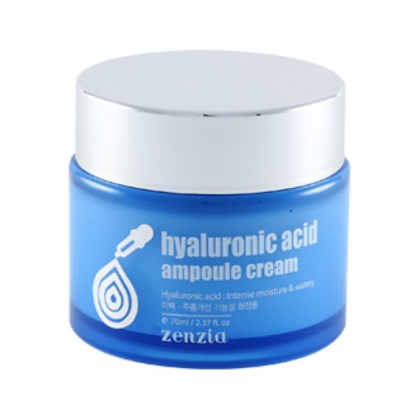 крем для лица с гиалуроновой кислотой zenzia  hyaluronic acid ampoule creamHyaluronic Acid Ampoule Cream. Крем для лица с гиалуроновой кислотой<br><br>Функциональный крем двойного действия на основе гиалуроновой кислоты. Крем не оставляет ощущения липкости, впитывается быстро и без остатка.<br><br><br>Комплекс растительных экстрактов снабжает кожу витаминами, способствует улучшению цвета лица и оказывает антивозрастной эффект.<br><br>Ниацинами и аденозин увеличивают синтез коллагена, улучшают барьерную функцию, сокращают морщины, выравнивают цвет лица и оказывают антивозрастное действие – улучшают эластичность кожи и предотвращают ее старение.<br><br>Гилауроновая кислота помогает впитывать и удерживать всю поступающую на кожу влагу.<br><br><br>Применение:&amp;nbsp;Используйте на завершающем этапе ухода за кожей. Небольшое количество крема нанести на очищенную кожу лица, легкими похлопываниями вбивая крем в кожу до полного впитывания.<br><br>Меры предосторожности: Только для наружного применения. Избегать попадания в глаза. При попадании в глаза немедленно промыть водой. Не наносить на поврежденные участки кожи. При появлении раздражения прекратить использование.<br><br>Срок годности: 3 года с даты производства.<br><br>Объем: 70 мл<br>