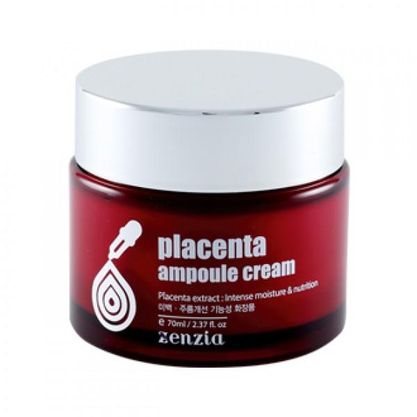 крем для лица с плацентой zenzia  placenta ampoule creamPlacenta Ampoule Cream. Крем для лица с плацентой<br><br>Функциональный косметический продукт двойного действия на основе ферментированной плацентарной вытяжки. Плацентарный крем содержит вещества, близкие по составу к клеткам кожи и, легко проникая в нее, стимулирует регенерацию клеток, способствуя омолаживанию кожи. Крем ухаживает, питает восстанавливает кожу, повышает ее упругость и эластичность. Активные растительные компоненты в составе крема обладают увлажняющими, восстанавливающими и отбеливающими свойствами.<br><br><br>Гиалуроновая кислота – один из наилучших натуральных увлажнителей. Способствует выработке собственной гиалуроновой кислоты, синтезу коллагена и эластина.<br><br>Ниацинамид и аденозин увеличивают синтез коллагена, улучшают барьерную функцию, сокращают морщины, выравнивают цвет лица и оказывают антивозрастное действие – улучшают эластичность кожи и предотвращают ее старение.<br><br>Экстракт плаценты предотвращает сухость и увлажняет.<br><br><br>Применение:&amp;nbsp;Используйте на завершающем этапе ухода за кожей. Небольшое количество крема нанести на очищенную кожу лица, легкими похлопываниями вбивая крем в кожу до полного впитывания.<br><br>Меры предосторожности: Только для наружного применения. Избегать попадания в глаза. При попадании в глаза немедленно промыть водой. Не наносить на поврежденные участки кожи. При появлении раздражения прекратить использование.<br><br>Срок годности: 3 года с даты производства.<br><br>Объем: 70 мл<br>