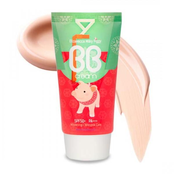 бб крем elizavecca  milky piggy bb creamMilky Piggy BB Cream. Многофункциональный ББ крем помогает выровнять тон кожи и скрыть различные несовершенства, способствует осветлению пигментации и разглаживанию морщин, а также обеспечивает надежную защиту от УФ-излучения. Солнцезащитный фильтр SPF50+ PA+++ делает крем идеальным для летнего сезона, так как оберегает кожу от агрессивного воздействия солнечных лучей UV-A и UV-B, предупреждает фотостарение и возникновение пигментации. Крем увлажняет и успокаивает кожу, предупреждает появление раздражений и шелушений.<br><br>Имеет высокую кроющую способность, легко маскирует пигментацию, купероз, акне и др. несовершенства, при этом не создает эффекта маски. Легко распределяется по коже, подстраивается под ее тон и создает легкое безупречное покрытие, дарит коже естественное сияние и свежесть. Универсальный оттенок крема подходит для любого типа кожи.<br><br>Средство держится в течение дня, не подчеркивает поры, не плывет и не темнеет. При регулярном применении крема происходит осветление пигментации, улучшается текстура кожи, повышается ее упругость, а морщины становятся менее выраженными.<br><br>Способ применения: Нанести на очищенную и тонизированную кожу и растушевать мягкими, похлопывающими движениями.<br>