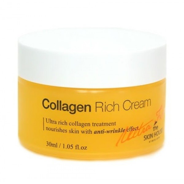 питательный коллагеновый крем от морщин the skin house ultra firming collagen rich creamUltra Firming Collagen Rich Cream. Питательный коллагеновый крем от морщин<br><br>Питательный крем с коллагеном эффективно укрепляет и подтягивает кожу, оказывает видимый лифтинг –эффект, разглаживает морщины и не глубокие линии.<br><br>Главный компонент - активный коллаген, он восстанавливает каркасные волокна соединительной ткани, подтягивает овал лица и повышает тургор кожи.<br><br>Аденозин в составе крема оказывает дополнительное воздействие на сеточку морщин, разглаживая их, а так же осветляет пигментные и возрастные пятна.<br><br>Крем интенсивно питает и увлажняет кожу благодаря целому комплексу растительных экстрактов.<br><br>Так экстракты корней пиона, жимолости, эдельвейса и ягод Асаи оказывают антиоксидантное воздействие на клетки кожи, предотвращая преждевременное старение.<br><br>Масло макадамского ореха и цветов камелии глубоко питают кожу, придавая лицу яркость и внутреннее сияние здоровой кожи. Специальный состав крема исключает использование искусственных красителей и ароматизаторов, парабенов и спирта и может быть использован даже на очень сухой и капризной кожи.<br><br>Подходит для:&amp;nbsp;нормальная, сухая, чувствительная кожа.<br><br>Способ применения: нанесите небольшое количество крема на лицо и шею легкими массажными движениями на последнем этапе ухода за кожей. Дайте впитаться. Этот крем может быть использован утром и/или вечером.<br><br>Объем: 30 мл<br>