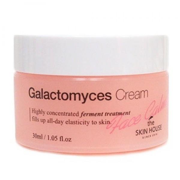 ферментированный крем для лица глактокомус  the skin house face calming galactomyces creamFace Calming Galactomyces Cream. Ферментированный крем для лица Глактокомус&amp;nbsp;<br><br>Крем с содержание дрожжевого фермента Галактомисис ухаживает за кожей, омолаживая ее.<br><br>Концентрированный крем интенсивно питает и увлажняет даже глубокие слои кожи, а так же борется с морщинами.<br><br>Успокаивает кожу, снимает стресс и тонизирует вялую кожу, а так же создает защитный барьер, уменьшающий вредное воздействие окружающей среды. Крем при регулярном применении выравнивает тон и рельеф лица, восстанавливает водно-липидный баланс кожи.<br><br>Глактокомуз, основной компонент крема, по строению фермент схож с клетками кожи, что делает его эффективность максимальной.<br><br>Ферментированный крем содержит коже витамины группы A, P и В, а так же фолиевую кислоту, которые питают и увлажняют кожу.<br><br>В состав крема так же входит натуральный экстракт алоэ&amp;nbsp;(увлажняет кожу, оказывает противовоспалительный эффект), экстракт манго (укрепляет капилярные сетки) и ежевики (улучшает тон кожи).<br><br>Подходит для:&amp;nbsp;комбинированная, жирная, сухая, нормальная, чувствительная кожа.<br><br>Способ применения: нанесите небольшое количество крема на лицо и шею на последнем этапе ухода за кожей. Дайте впитаться. Используйте два раза в день: утром и вечером.<br><br>Объем:&amp;nbsp;30 мл<br>