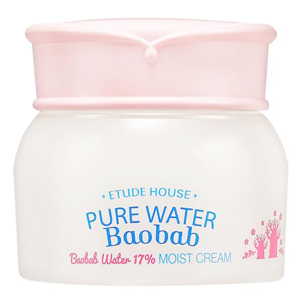 увлажняющий крем с экстрактом баобаба etude house  pure water baobab moist creamPure Water Baobab Moist Cream. Увлажняющий крем с экстрактом баобаба<br><br>Восстанавливает клетки кожи, увлажняет, предотвращает появление морщин. Легкая гелевая текстура при соприкосновении с кожей мгновенно тает.<br><br>Богатый состав позволяет ухаживать за кожей.<br><br>Активные компоненты:<br><br>- Экстракт баобаба -&amp;nbsp;антиоксидант, увлажняет кожу, восстанавливает уровень увлажненности.<br><br>- Экстракт моринги&amp;nbsp;уменьшает воспаления кожи, снижает раздражения, выводит токсины.&amp;nbsp;<br><br>- Экстракт лотоса успокаивает, устраняет воспаления, восстанавливает упругость.<br><br>Применение: Наносить утром и вечером на очищенную кожу.<br><br>Объем: 60 мл<br>