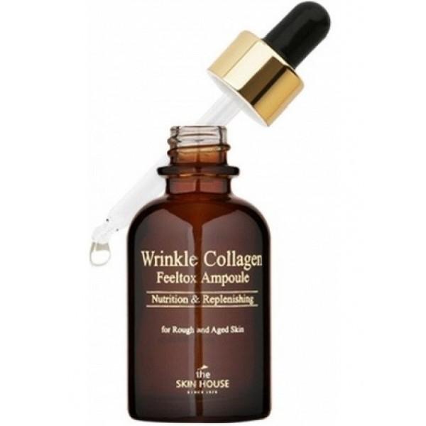 сыворотка ампульная с коллагеном  the skin house wrinkle collagen feeltox ampouleWrinkle Collagen Feeltox Ampoule. Сыворотка ампульная с коллагеном<br><br>Продукт в виде ампульной высококонцентрированной сыворотки для борьбы с морщинами обеспечивает глубокое питание и возвращение эластичности. Обогащает коллагеном, помогая восстановить тургор.<br><br>При частом использовании возвращает упругость, сокращается количество и глубина складочек. Питает и разглаживает, улучшает тонус. После нее кожа становится с гладким рельефом, напитывается энергией и придает здоровье и сияние.<br><br>Содержит:<br><br><br>трегалозу, которая дарит увлажнение в любой сезон.<br><br>аденозин стимулирует выработку коллагеновых волокон.<br><br>коллаген усиливает активность клеток, устраняет морщинки и складки.<br><br>выжимка тимьяна тонизирует, смягчает, увлажняет.<br><br>масло плодов макадамии напитывает полезными веществами, это прекрасное средство для омоложения и восстановления.<br><br>компонент алоэ интенсивно насыщает влагой глубинные слои, восстанавливает и запускает регенерацию на клеточном уровне.<br><br>женьшень состоит из множества антиоксидантов и оказывает стимулирующее воздействие на синтез эластина, а также омолаживает и обладает защитной функцией против негативного влияния экологии.<br><br>японская жимолость укрепляет стенки сосудов, служит профилактикой от купероза. Останавливает старение.&amp;nbsp;<br><br><br>Подходит для: все типы кожи, в особенности для кожи с признаками старения и морщинами.<br><br>Способ применения:&amp;nbsp;нанести на предварительно очищенную поверхность, дать впитаться, затем продолжите уход с кремом.<br><br>Объем: 30 мл<br>