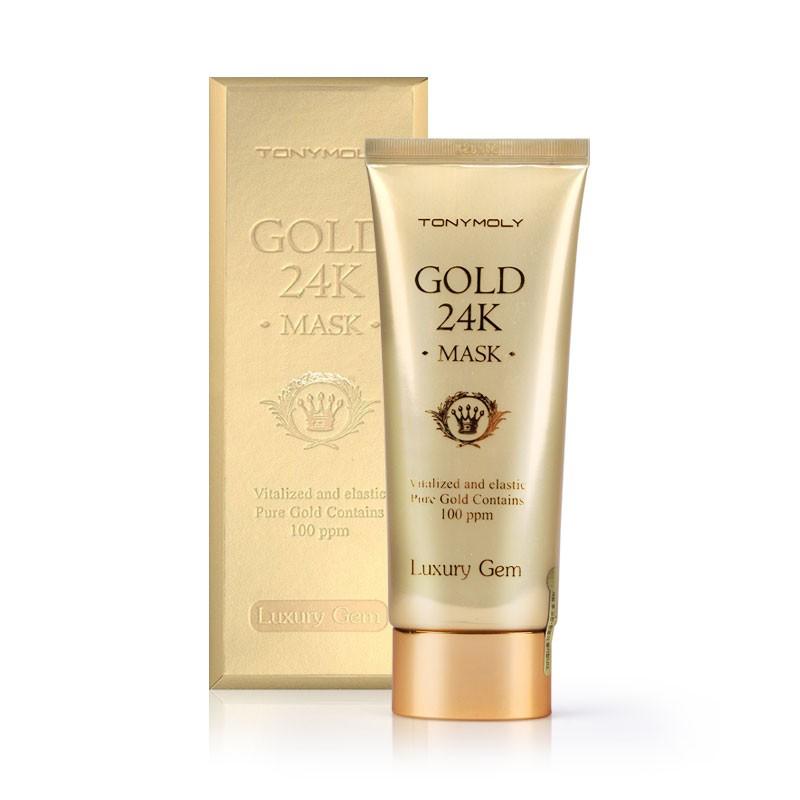 маска с 24к золотом tony moly luxury gem gold 24k maskLUXURY JAM GOLD 24K MASK. Маска для лица с экстрактами 30% муцина улитки и золотыми частицами интенсивно обогащает кожу важными аминокислотами, жировыми кислотами, витаминами. Восстанавливает жизненный тонус кожи, укрепляет тургор и противостоит образованию кожных заломов, оптимизирует естественные защитные силы кожи. Активирует обменные процессы, омолаживает кожу, запускает восстановительные процессы.<br><br>Маска содержит фильтрат муцина улитки (30%), пептид золота (10 мг), ниацинамид, масло цедры лимона, масло бергамота, масло цедры апельсина, масло лайма, масло сосны, масло эвкалипта, экстракт пальмового кактуса, масло мандарина, олигопептид -1, дрожжевой экстракт и другие полезные компоненты. Насыщает влагой, эффективно нейтрализует свободные радикалы, замедляя процессы старения, оказывает противоотечное действие и придает коже здоровое сияние. Маска обладает массажным эффектом.<br><br>Экстракт муцина улитки обладает основными свойствами:<br><br><br>мощный антиоксидант, защищает клетки от разрушения и преждевременного старения;<br><br>восстанавливает и улучшает местную микроциркуляцию, укрепляет стенки капилляров;<br><br>выравнивает цвет лица и рассасывает застойные пятна;<br><br>восстанавливает качество коллагеновых и эластиновых волокон кожи;<br><br>омолаживает и подтягивает кожу.<br><br><br>Обладает уникальной способностью визуально сглаживать морщины, будто бы заполняя их изнутри, и смягчать линии кожных заломов. Коллоидное золото улучшает проникновение в кожу других компонентов крема: витаминов, растительных экстрактов. Ускоряет деление клеток кожи. Повышает жизненный тонус, стимулирует восстановительные функции организма, повышает сопротивляемость различным заболеваниям, способствует усилению процессов регенерации клеток.<br><br>Комплекс натуральных масел способствует очищению кожи от отмерших клеток, уменьшает размеры пор. Проявляет антибактериальное действие, стимулирует процесс регенерации клеток ко