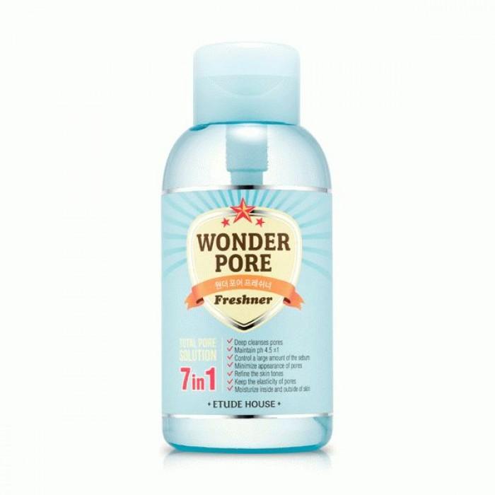 тоник для проблемной кожи etude house  wonder pore freshnerWonder Pore Freshner. Тоник для проблемной кожи обеспечивает полный уход и заботу Вашей коже, предотвращая появление расширенных пор и несовершенств. Тоник проникает глубоко в кожу и устраняет возможные очаги воспаления, сокращая появление акне и забитых пор.<br><br>Комплексная система для очистки пор - эффективно очищает снаружи и изнутри пор, при помощи экстракта мяты. Тоник Etude House Wonder Pore помогает сбалансировать уровень рН и предотвращает проблемы кожи, вызванные дисбалансом pH, придает коже чистейший вид кожи младенца. В составе нет таких вредных компонентов как:<br><br><br>парабенов,<br><br>минерального масла,<br><br>синтетических ароматизаторов,<br><br>искусственных красителей,<br><br>талька,<br><br>продуктов животного происхождения.<br><br><br>Способ применения: нанесите тоник на ватный диск и протрите лицо от центра ко внешнему краю. Уделяйте особое внимание Т-Зоне, т.к. именно в ней чаще всего появляются расширенные и забитые поры. Также, Вы можете перелить средство в бутылочку с дозатором и использовать тонер при возникновении чувства сухости или усталости на лице.<br>