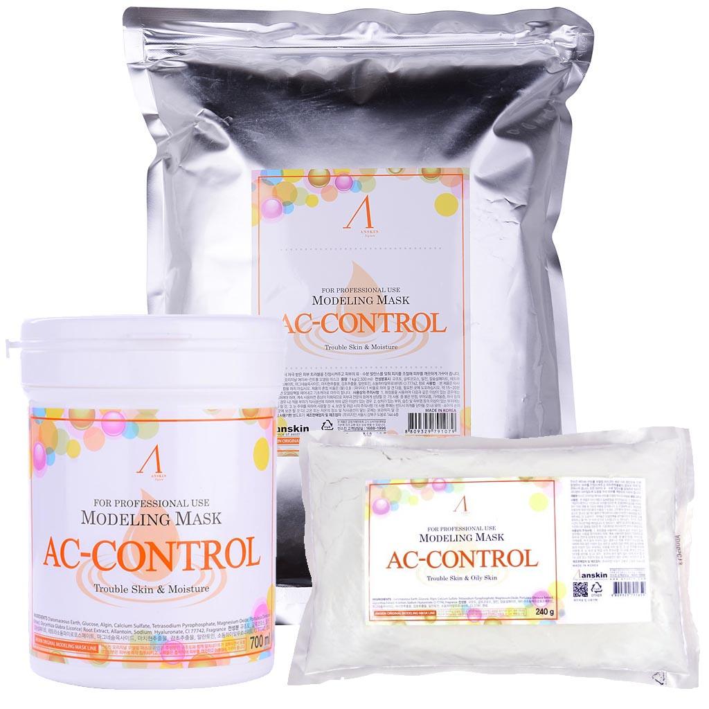 маска альгинатная для проблемной кожи против акне anskin ac control modeling maskAC Control Modeling Mask / Refil. Маска альгинатная&amp;nbsp;для проблемной кожи с акне<br><br>Маска рекомендована для проблемной кожи, склонной к появлению воспалений.&amp;nbsp;Портулак способствует уменьшению глубоких морщин, воздействует на мышечном уровне.&amp;nbsp;Препятствует образованию сокращений кожи. Повышает защитные функции кожи. Эффективно убирает воспаления, выводит токсины из кожи.<br><br>Применение:&amp;nbsp;Перед нанесением альгинатной маски кожу надо тщательно очистить. Под маску необходимо нанести активное косметическое средство, это может быть сыворотка, эмульсия, ампулы с активными веществами и т.п. подобранные специально исходя из решаемых проблем кожи. Под давлением маски эти средства лучше проникают в кожу. После того, как нанесенное средство впитается, накладывается альгинатная маска.<br><br>Положить порошок мерной чашкой и воду (или активатор) в миску в соотношении 1:0,8 (на 100 мл порошка 80 мл воды), быстрыми движениями перемешайте до однородной массы при помощи шпателя. При помощи шпателя нанесите маску слоем 3-5 мм на очищенную кожу лица, оставляя открытыми только ноздри. Наносить быстро, чтобы она не успела застыть.&amp;nbsp;При нанесении маски на лицо рекомендуется двигаться по массажным линиям.&amp;nbsp;Оставить маску на 20-25 минут до застывания. Удалить её одним пластом, от подбородка ко лбу. За 2-3 минуты до наложения маски рекомендуется наносить биоактивные сыворотки, кремы или гели.<br><br>В течение последующих 10-15 минут маска становится похожей на резину и немного уменьшается в объёме, этот процесс называется пластифицированием. Маска слегка стягивает кожу лица, но неприятными и тем более болезненными эти ощущения назвать нельзя, вы почувствуете приятный холодок и интенсивное увлажнение кожи. Альгинатная маска не требует смывания водой. Через 30-40 минут она легко снимается в виде мягкого пластичного слепка, повторяющего контуры лица или тела. Сн