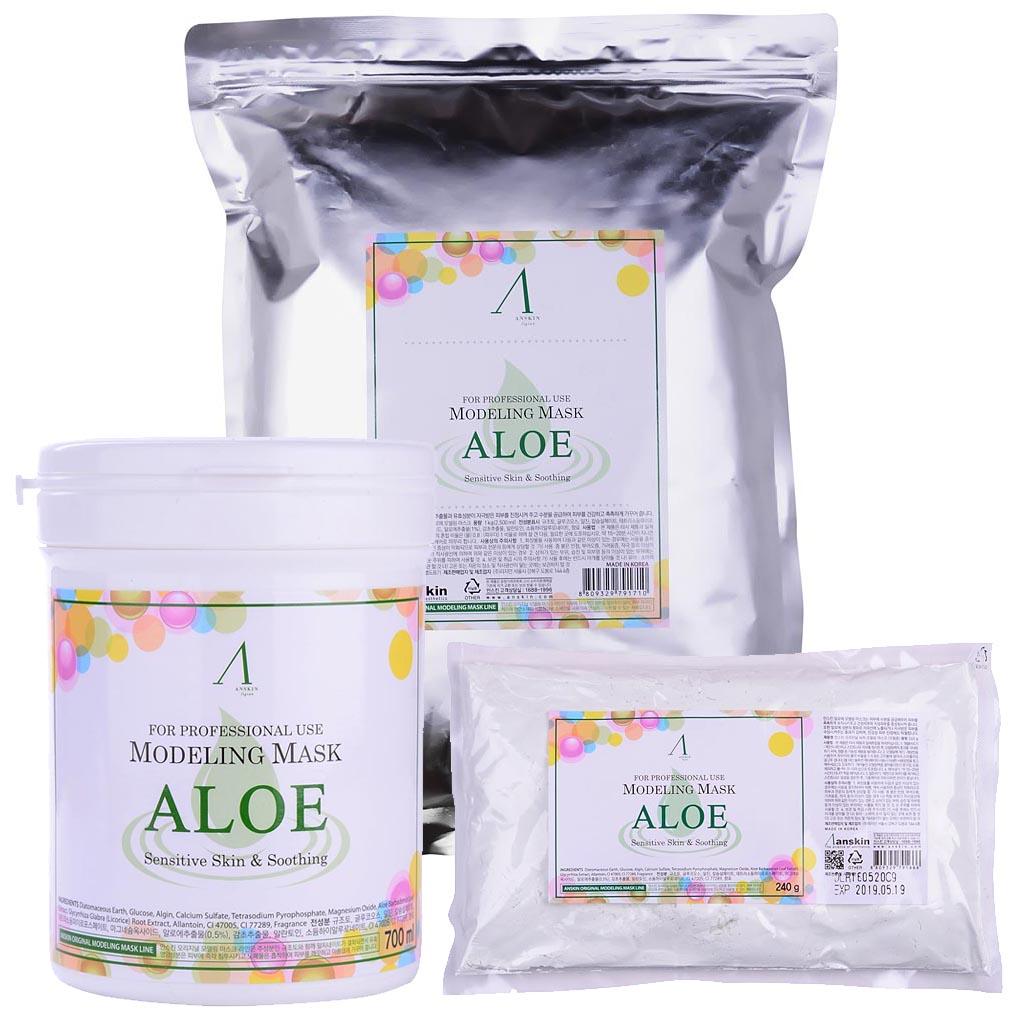маска альгинатная с алоэ успокаивающая anskin aloe modeling maskAloe Modeling Mask.&amp;nbsp;Маска альгинатная с экстрактом алоэ успокаивающая<br><br>Интенсивно успокаивающая маска содержит комплекс аминокислот, сапонин, минеральных веществ, растительные экстракты и аллантоин, благодаря им положительно воздействует на эпителий кожи, значительно улучшает его, действуя успокаивающе и активно питая кожу.<br><br>Обладает бактерицидными и бактериостатическими свойствами.<br><br>Применение:&amp;nbsp;Перед нанесением альгинатной маски кожу надо тщательно очистить. Под маску необходимо нанести активное косметическое средство, это может быть сыворотка, эмульсия, ампулы с активными веществами и т.п. подобранные специально исходя из решаемых проблем кожи. Под давлением маски эти средства лучше проникают в кожу. После того, как нанесенное средство впитается, накладывается альгинатная маска.<br><br>Положить порошок мерной чашкой и воду (или активатор) в миску в соотношении 1:0,8 (на 100&amp;nbsp;мл&amp;nbsp;порошка 80 мл воды), быстрыми движениями перемешайте до однородной массы при помощи шпателя. При помощи шпателя нанесите маску слоем 3-5 мм на очищенную кожу лица, оставляя открытыми только ноздри. Наносить быстро, чтобы она не успела застыть.&amp;nbsp;При нанесении маски на лицо рекомендуется двигаться по массажным линиям.&amp;nbsp;Оставить маску на 20-25 минут до застывания. Удалить её одним пластом, от подбородка ко лбу. За 2-3 минуты до наложения маски рекомендуется наносить биоактивные сыворотки, кремы или гели.<br><br>В течение последующих 10-15 минут маска становится похожей на резину и немного уменьшается в объёме, этот процесс называется пластифицированием. Маска слегка стягивает кожу лица, но неприятными и тем более болезненными эти ощущения назвать нельзя, вы почувствуете приятный холодок и интенсивное увлажнение кожи. Альгинатная маска не требует смывания водой. Через 30-40 минут она легко снимается в виде мягкого пластичного слепка, повторяющего контуры лица или 