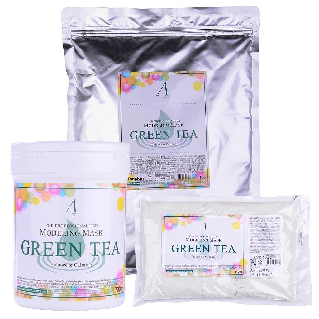 маска альгинатная с экстрактом зеленого чая успокаивающая anskin green tea modeling maskМаска альгинатная с экстрактом зеленого чая успокаивающая антиоксидантная Green Tea Modeling Mask&amp;nbsp;подходит для любого типа кожи, но особенно рекомендуется для дряблой, тусклой, вялой, а также для проблемной и жирной кожи.<br>&amp;nbsp;<br><br>Экстракт зеленого чая – мощный природный антиоксидант, помогает продлить молодость кожи, сохранить её красивой и здоровой значительно дольше, замедляя процессы старения. Экстракт зеленого чая эффективно нейтрализует разрушительное действие свободных радикалов, предотвращая окисление клеток, которое и приводит к возникновению кожных воспалений, образованию пигментации, появлению морщин. Зеленый чай, благодаря своим полезным свойствам, используется для кожи любого типа.<br>&amp;nbsp;<br><br><br>Кофеин в составе зеленого чая улучшает микроциркуляцию крови и питание клеток кожи, выводит токсины и снимает отечность тканей.<br><br>Зеленый чай минимизирует агрессивное воздействие УФ-излучения и других негативных факторов внешней среды.<br><br>Зеленый чая является природным антисептиком, оказывает противовоспалительное и антибактериальное действие, уничтожает грибки и бактерии на поверхности кожи, подавляет их размножение.<br><br>Зеленый чай подсушивает кожные воспаления, ускоряя их заживление, успокаивает зуд и снимает покраснения.<br><br>Экстракт зеленого чая очищает поры и сужает их, поверхность кожи и её тон выравниваются.<br><br><br>После использования альгинатной маски с экстрактом зеленого чая кожа становится свежей, чистой, матовой и бархатистой.<br><br>Также в состав маски входят: диатомит, глюкоза, альгинат натрия, сульфат кальция, бетаин, оксид цинка, экстракт мяты перечной (1%), гидролизованный пшеничный глютен, экстракт солодки, аллантоин , гиалуроновая кислота<br><br>Еще одно удивительное свойство альгинатной маски заключается в том, что она усиливает действие косметических средств, которые наносились на кожу до использования 