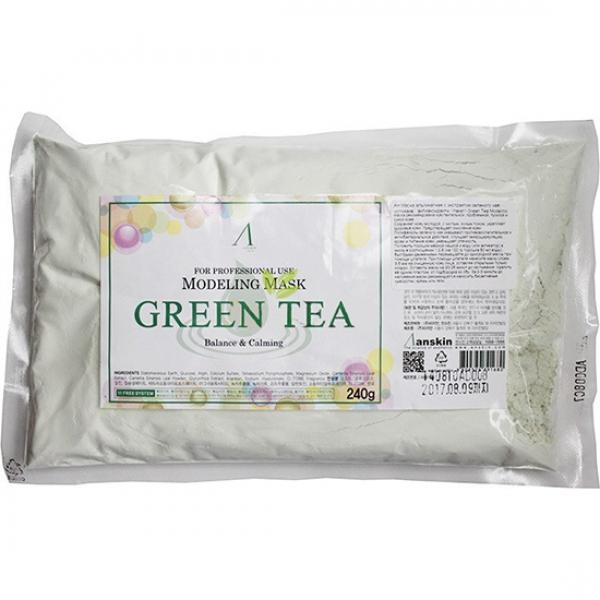маска альгинатная с экстрактом зеленого чая anskin grean tea modeling / refillМаска альгинатная с экстрактом зеленого чая успокаивающая, антиаксидантн. (пакет) Grean Tea Modeling &amp;nbsp;рекомендована чувствительной, проблемной, тусклой и сухой коже. Сохраняет кожу молодой, с чистым, ясным тоном, укрепляет здоровье кожи. Предотвращает окисление кожи. Полифенолы зеленого чая оказывают противовоспалительное и антибактериальное действие. Улучшает микроциркуляцию крови и питание кожи, уменьшает отечность.<br><br>Положить порошок мерной чашкой и воду (или активатор) в миску в соотношении 1:0,8 (на 100&amp;nbsp;мл&amp;nbsp;порошка 80 мл воды), быстрыми движениями перемешайте до однородной массы при помощи шпателя. При помощи шпателя нанесите маску слоем 3-5 мм на очищенную кожу лица, оставляя открытыми только ноздри. Оставить маску на 20-25 минут до застывания. Удалить её одним пластом, от подбородка ко лбу. За 2-3 минуты до наложения маски рекомендуется наносить биоактивные сыворотки, кремы или гели.<br><br>Содержит диатомит, глюкозу, альгинат натрия, сульфат кальция, бетаин, оксид цинка, экстракт зеленого чая (1%), гидролизованный пшеничный глютен экстракт солодки, аллантоин, бетаин, гиалуроновую кислоту<br><br>Вес г: 240.00000000