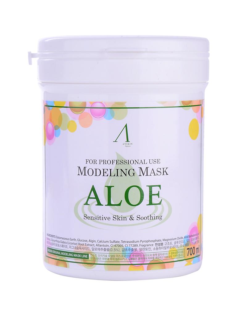 маска альгинатная с алоэ успокаивающая anskin aloe modeling mask/containerМаска альгинатная с экстрактом алоэ успокаивающая (банка)&amp;nbsp;Aloe Modeling Mask/container&amp;nbsp;содержит комплекс аминокислот, сапонин, минеральных веществ, растительные экстракты и аллантоин, благодаря им положительно воздействует на эпителий кожи, значительно улучшает его, действуя успокаивающе и активно питая кожу. Обладает бактерицидными и бактериостатическими свойствами.<br><br>Положить порошок мерной чашкой и воду (или активатор) в миску в соотношении 1:0,8 (на 100&amp;nbsp;мл&amp;nbsp;порошка 80 мл воды), быстрыми движениями перемешайте до однородной массы при помощи шпателя. При помощи шпателя нанесите маску слоем 3-5 мм на очищенную кожу лица, оставляя открытыми только ноздри. Оставить маску на 20-25 минут до застывания. Удалить её одним пластом, от подбородка ко лбу. За 2-3 минуты до наложения маски рекомендуется наносить биоактивные сыворотки, кремы или гели.<br><br>Маска содержит диатомит, глюкозу, альгинат натрия, сульфат кальция, бетаин, оксид цинка, экстракт алоэ вера (1%) гидролизованный пшеничный глютен, экстракт солодки, аллантоин, бетаин, гиалуроновую кислоту, экстракт оливы.<br><br>&amp;nbsp;<br><br>Перед нанесением альгинатной маски кожу надо тщательно очистить. Под маску необходимо нанести активное косметическое средство, это может быть сыворотка, эмульсия, ампулы с активными веществами и т.п. подобранные специально исходя из решаемых проблем кожи. Под давлением маски эти средства лучше проникают в кожу. После того, как нанесенное средство впитается, накладывается альгинатная маска.<br><br>&amp;nbsp;<br><br>Объем: 700 мл (240 гр)<br>