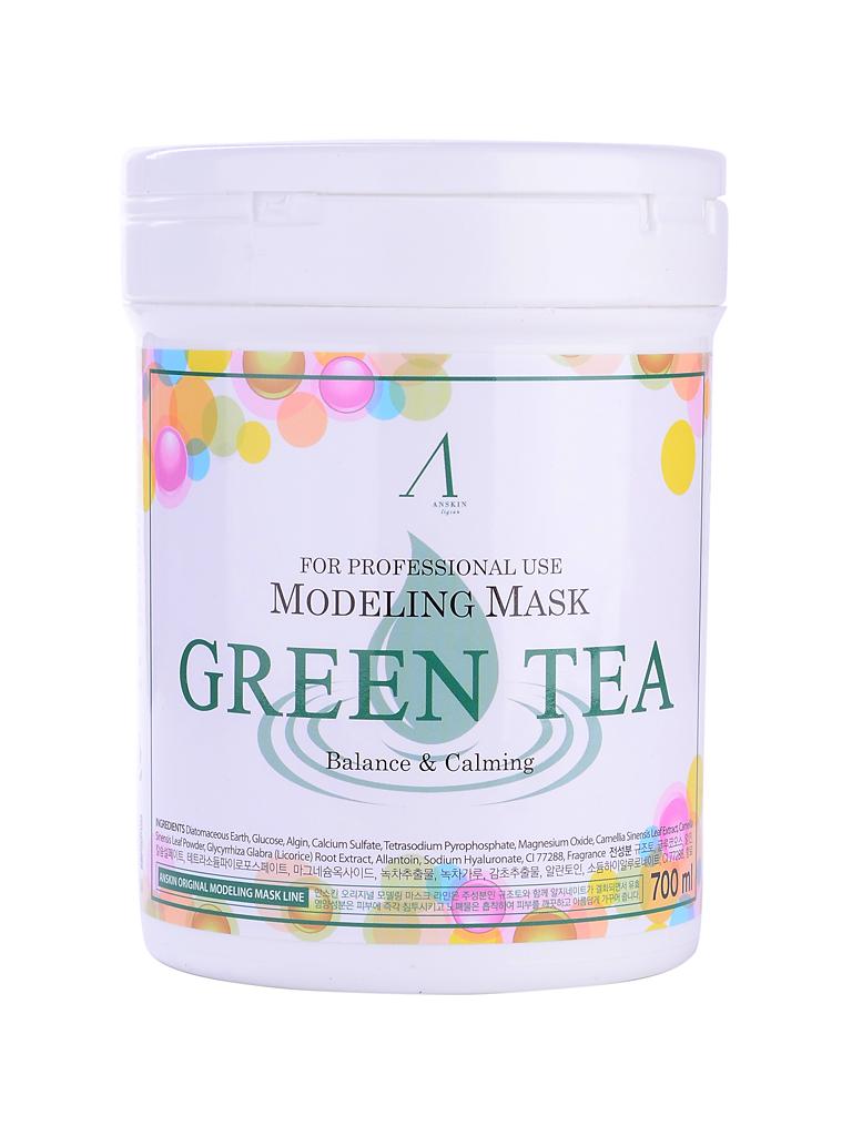 маска альгинатная с экстрактом зеленого чая anskin green tea modeling mask/containerМаска альгинатная с экстрактом зеленого чая успокаивающая антиаксидантная&amp;nbsp;(банка)&amp;nbsp;Green Tea Modeling Mask/container&amp;nbsp;подходит для любого типа кожи, но особенно рекомендуется для дряблой, тусклой, вялой, а также для проблемной и жирной кожи.<br><br>Экстракт зеленого чая – мощный природный антиоксидант, помогает продлить молодость кожи, сохранить её красивой и здоровой значительно дольше, замедляя процессы старения. Экстракт зеленого чая эффективно нейтрализует разрушительное действие свободных радикалов, предотвращая окисление клеток, которое и приводит к возникновению кожных воспалений, образованию пигментации, появлению морщин. Зеленый чай, благодаря своим полезным свойствам, используется для кожи любого типа.<br><br><br>Кофеин в составе зеленого чая улучшает микроциркуляцию крови и питание клеток кожи, выводит токсины и снимает отечность тканей.<br><br>Зеленый чай минимизирует агрессивное воздействие УФ-излучения и других негативных факторов внешней среды.<br><br>Зеленый чая является природным антисептиком, оказывает противовоспалительное и антибактериальное действие, уничтожает грибки и бактерии на поверхности кожи, подавляет их размножение.<br><br>Зеленый чай подсушивает кожные воспаления, ускоряя их заживление, успокаивает зуд и снимает покраснения.<br><br>Экстракт зеленого чая очищает поры и сужает их, поверхность кожи и её тон выравниваются.<br><br><br>После использования альгинатной маски с экстрактом зеленого чая кожа становится свежей, чистой, матовой и бархатистой.<br><br>Также в состав маски входят: диатомит, глюкоза, альгинат натрия, сульфат кальция, бетаин, оксид цинка, экстракт мяты перечной (1%), гидролизованный пшеничный глютен, экстракт солодки, аллантоин , гиалуроновая кислота<br><br>Еще одно удивительное свойство альгинатной маски заключается в том, что она усиливает действие косметических средств, которые наносились на кожу до использова