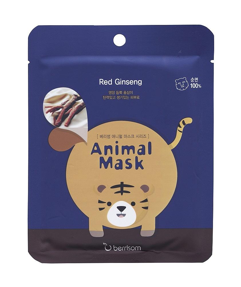 маска для лица серии animal mask – тигр berrisom animal mask red ginseng tigerAnimal Mask Red Ginseng TIGER. Маска для лица серии Animal mask – Тигр с экстрактом женьшеня - веселая тканевая маска-мордочка.<br><br>Белая тканевая маска – это приятно, это полезно, но совсем не интересно. Чтобы уход за кожей был не только эффективным, но и веселым, используйте забавные маски-мордочки от BERRISOM.<br><br>Рисунок нанесен только на одну сторону маски, поэтому совершенно безопасен для кожи. Нежнейший органический хлопок, из которого сделана маска, подходит даже для самой чувствительной кожи. Мягкое и плотное прилегание обеспечивает глубокое проникновение в кожу активных компонентов маски.<br><br>В отличие от многих других масок, пропитанных 5-10 мл эссенции,Animal Mask Series пропитана 25 мл слегка маслянистой, но приятной для кожи эссенцией.<br><br>В составе маски керамиды, ледниковая вода и комплекс растительных экстрактов.<br><br><br>Керамиды – восстанавливают липидный барьер верхнего слоя эпидермиса сухой и огрубевшей кожи, обеспечивают интенсивное увлажнение. Благодаря керамидам в составе маски, кожа в короткие сроки после применения восстанавливается, уменьшаются признаки обезвоженности, разглаживаются морщинки. Керамиды снимают шелушения кожи, дарят ей гладкость и шелковистость.<br><br><br><br>Ледниковая вода – интенсивно увлажняет кожу, насыщает ее важнейшими микроэлементами, тонизирует и дарит невероятное ощущение свежести, нормализует и ускоряет процессы восстановления клеток.<br><br><br>Маска предназначена для омолаживания кожи. Экстракт корня женьшеня улучшает регенерацию и восстанавливает поврежденные клетки, защищает от преждевременного старения, возвращает коже упругость и эластичность, обеспечивает надежную защиту от агрессивного воздействия свободных радикалов.<br><br>Способ применения: На очищенную и тонизированную кожу наложить маску и разгладить ее. Через 15-20 минут маску снять, а остатки средства вмассировать в кожу.<br><br>Состав: Water, Glycerin, But