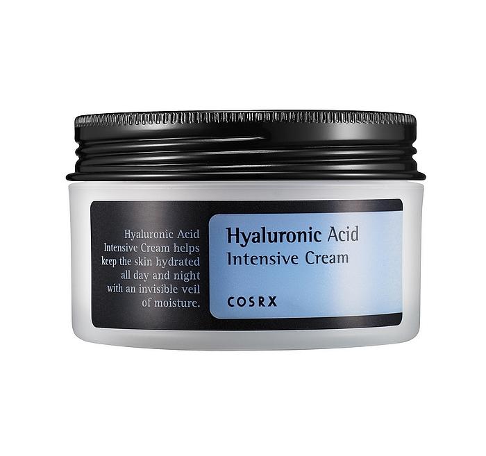 увлажняющий крем с гиалуроновой кислотой cosrx hyaluronic acid intensive creamHyaluronic Acid Intensive Cream. Интенсивно увлажняющий крем с гиалуроновой кислотой.<br><br>Средство обладает легкой консистенцией и быстро впитывается, делая сухую и обезвоженную кожу увлажненной и упругой.<br><br>Крем содержит гиалуроновую кислоту, которая увлажняет и создает защитный слой на коже препятствующий потере влаги и сохраняющий высокий уровень увлажненности кожи на протяжении целого дня. Крем помогает регулировать водно-жировой баланс кожи лица и препятствует обезвоживанию кожи.<br><br>Облепиха в составе крема является прекрасным источником витаминов C, A, и E, бета-каротина, минералов, аминокислот и жирных кислот. Облепиха обладает ярко выраженным антиоксидантным эффектом&amp;nbsp; и надолго сохраняет молодость и здоровье кожи.<br><br>Применение: Используйте утром и вечером. После применения тоника равномерно нанесите крем на кожу лица массирующими движениями.<br><br>Меры предосторожности:<br><br>1.&amp;nbsp;&amp;nbsp;&amp;nbsp;&amp;nbsp;&amp;nbsp; Избегайте попадания в глаза. При попадании в глаза немедленно промойте водой.<br><br>2.&amp;nbsp;&amp;nbsp;&amp;nbsp;&amp;nbsp;&amp;nbsp; При появлении следующих реакций прекратите использование: раздражение, сыпь, покраснение, зуд<br><br>Состав: Hippophae Rhamnoides Water, Glycerin, Butylene Glycol, Caprylic/Capric Triglyceride, Betaine, Helianthus Annuus (Sunflower) Seed Oil, Cetearyl Alcohol, Cetearyl Olivate, Sorbitan Olivate, Macadamia Ternifolia Seed Oil, 1,2-Hexanediol, Sodium Hyaluronate, Arginine, Panthenol, Dimethicone, Ethylhexylglycerin, Carbomer, Allantoin, Xanthan Gum, Panthenol, Chlorophyllin-Copper Complex, Ethyl Hexanediol<br>