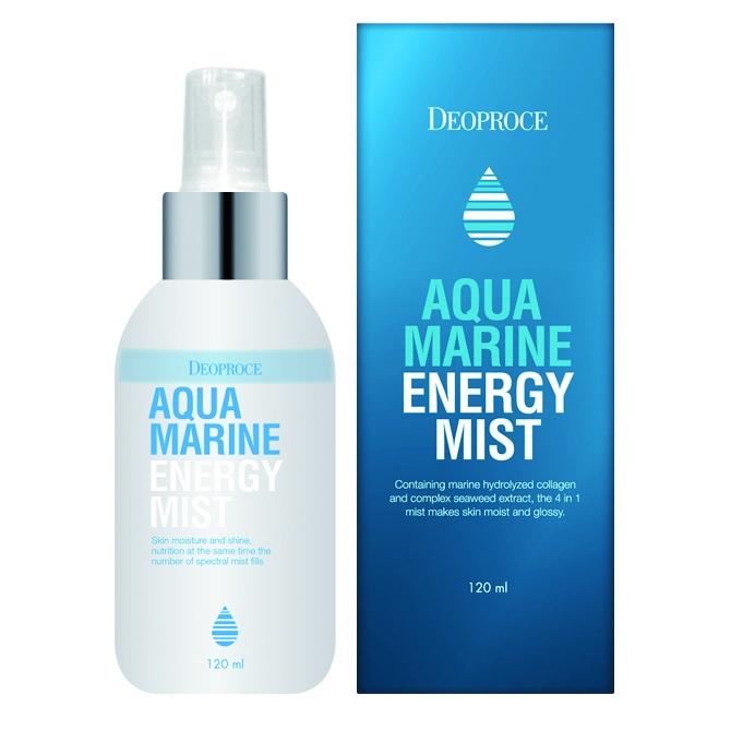 спрей для лица с морской водой deoproce mist aqua marine energyMist Aqua Marine Energy. Спрей для лица с морской водой<br><br>В жаркий летний день, во время занятий фитнесом, в течение дня в душном помещении - этот мист пригодится в любое время, в любом месте, когда кожа лица нуждаетсяв восстановлении увлажненности и энергии. Подходит для кожи любого типа.<br><br>Мист с мельчайшим распылением, ароматом свежести утреннего бриза и невероятно приятной текстурой сразу после применения дарит коже чувство невероятного комфорта, мгновенно увлажняет и освежает, устраняет сухость и чувство стянутости. Быстро питывается и наполняет кожу силой минералов, а также еще целым комплексом питательных компонентов.<br><br>Морской коллаген является наиболее близким к естественному человеческому коллагену, он легко усваивается и на клеточном уровне замедляет процессы старения и утраты эластичности кожи, а также защищает кожу от пересыхания, «закупоривая» влагу внутри. При регулярном применении крем с морским коллагеном повышает прочность кожи, делает ее упругой и эластичной, защищает от механических повреждений и провисаний.<br><br>Экстракты морских водорослей увлажняют, минерализуют и обогащают кожу кислородом, ускоряют заживление воспалений и подавляют новые воспалительные процессы, нормализуют работу сальных желез и обменные процессы, выводят токсины и шлаки, уменьшают отечность. Антиоксиданты морских водорослей в разы сильнее любых антоксидантов сухопутных растений, они надежно защищают клетки кожи от разрушения свободными радикалами, эффективно омолаживают кожу.<br><br>Комплекс натуральных масел (макадамии, жожоба, виноградных косточек и сладкого миндаля) оказывают интенсивное питательное действие, смягчают и разглаживают кожу, устраняют сухость и шелушения, повышают упругость и эластичность кожи, делают ее гладкой и нежной.<br><br>Регулярное применение миста делает кожу напитанной влагой, ухоженной, свежей и сияющей.<br><br>Способ применения: Распылить спрей на кожу лица с расстоя