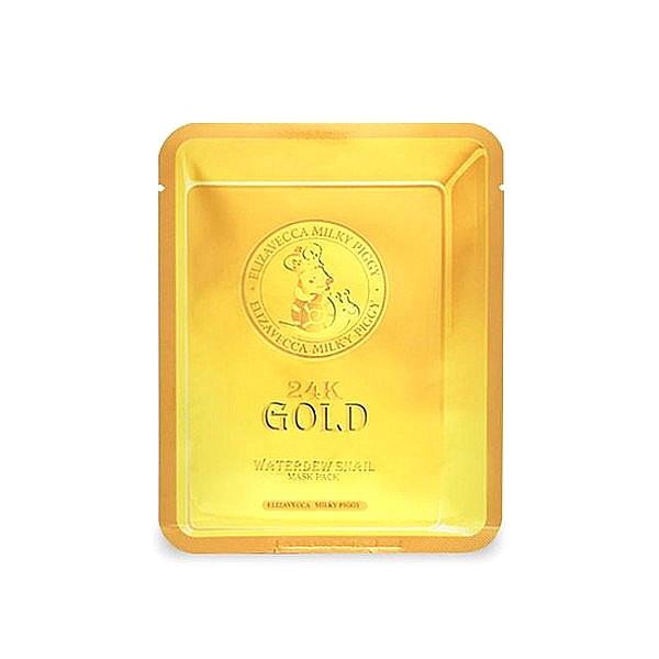 маска для лица улиточная с золотом24k Gold Water Dew Snail. Маска для лица улиточная с золотом<br><br>Одноразовая маска для омоложения кожи лица, в ее составе мощные антивозрастные компоненты – 24-каратное золото и экстракт слизи улитки. В составе маски эти два компонента омолаживают кожу на клеточном уровне.<br><br>&amp;nbsp;<br><br>24-каратное золото – обеспечивает длительное, глубокое увлажнение и питание кожи, способствует регенерации клеток, повышает эластичность и упругость кожи, предохраняет кожный покров от нежелательных возрастных изменений. Золото способствует быстрому проникновению в кожу молекул кислорода, что необходимо для обновления и омоложения кожи. Также золото усиливает циркуляцию крови, благодаря чему выводятся шлаки и токсины. Кроме того, золото служит своеобразным лифтом, доставляющим активные компоненты крема в глубокие слои кожи.<br><br>&amp;nbsp;<br><br>Улиточный секрет – природный компонент с эффективным оздоравливающим и омолаживающим воздействием. Уникальный комплекс витаминов и аминокислот, коллагена, эластина, аллантоина, хитозана и гликолевой кислоты, в короткие сроки способствует восстановлению поврежденной кожи, способствует синтезу новых соединительных тканей. Еще одно удивительное свойство улиточной слизи – способность обеззараживать поверхность кожи, склеивая между собой бактерии и нейтрализуя их жизнеспособность и проникновение в кожу.<br><br>&amp;nbsp;<br><br>Улиточный экстракт увлажняет, питает, смягчает, успокаивает и одновременно тонизирует кожу, делает ее упругой и эластичной, разглаживает морщины, осветляет пигментацию и выравнивает тон кожи, предупреждает появление рубцов и пятен пост-акне, дарит коже естественное сияние.<br><br>&amp;nbsp;<br><br>Маска с золотом и слизью улитки стимулирует регенерацию кожи и обновление клеток, увлажняет, питает и смягчает кожу, подтягивает и разглаживает её, осветляет пигментированные участки, выравнивает тон кожи.<br><br>&amp;nbsp;<br><br>Способ применения: Наложить маску на очищенное лиц