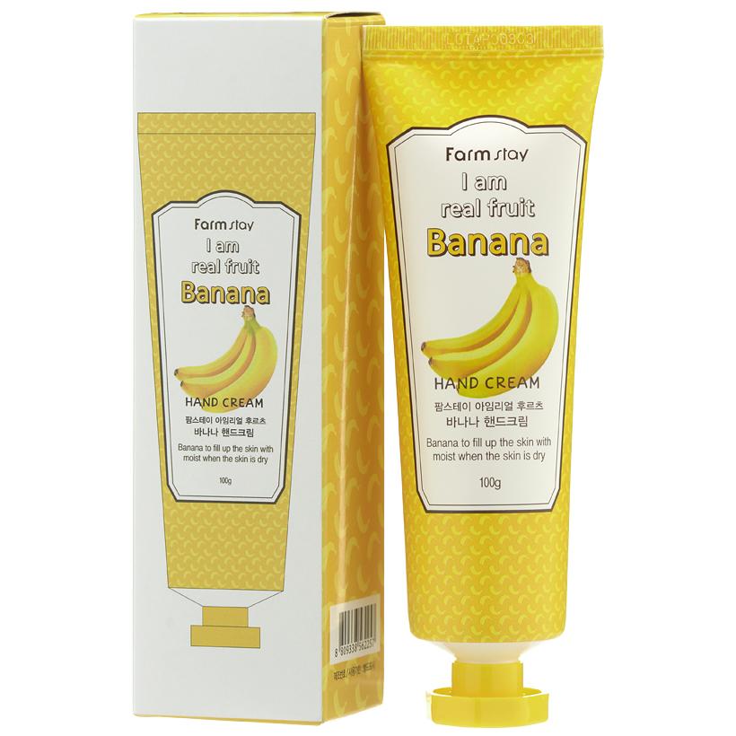 крем для рук с экстрактом банана farmstay i am real fruit banana hand creamI Am Real Fruit Banana Hand Cream. Крем для рук с экстрактом банана<br><br>Если кожа рук стала сухой, потрескавшейся, тусклой, потеряла упругость и эластичность, на помощь придет крем с экстрактом банана.<br><br>Банановый крем – спасение для кожи рук, нежное и ароматное. Экстракт из спелых плодов банана комплексно воздействует на состояние кожи, омолаживая ее и предотвращая преждевременное увядание.<br><br>Крем для рук с экстрактом банана оказывает питательное и увлажняющее действие, смягчает и разглаживает кожу, делает ее более упругой, молодой и красивой. Особо хорошо крем воздействует на чувствительную и усталую кожу: оказывает релаксирующее и успокаивающее действие, снимает раздражения и покраснения. Также крем защищает кожу от неблагоприятного воздействия внешней среды.<br><br>Также в составе крема экстракты алоэ, зеленого чая и грейпфрута, которые усиливают оздоравливающее действие крема, делают кожу рук еще более гладкой, мягкой, ухоженной.<br><br>Крем быстро впитывается, не оставляя жирной или липкой пленки, окутывает кожу рук замечательным ароматом сочного фрукта, который дарит хорошее настроение в течение дня.<br><br>Способ применения: Нанести на чистую сухую кожу рук легкими массирующими движениями.<br><br>Объём: 100 мл<br>