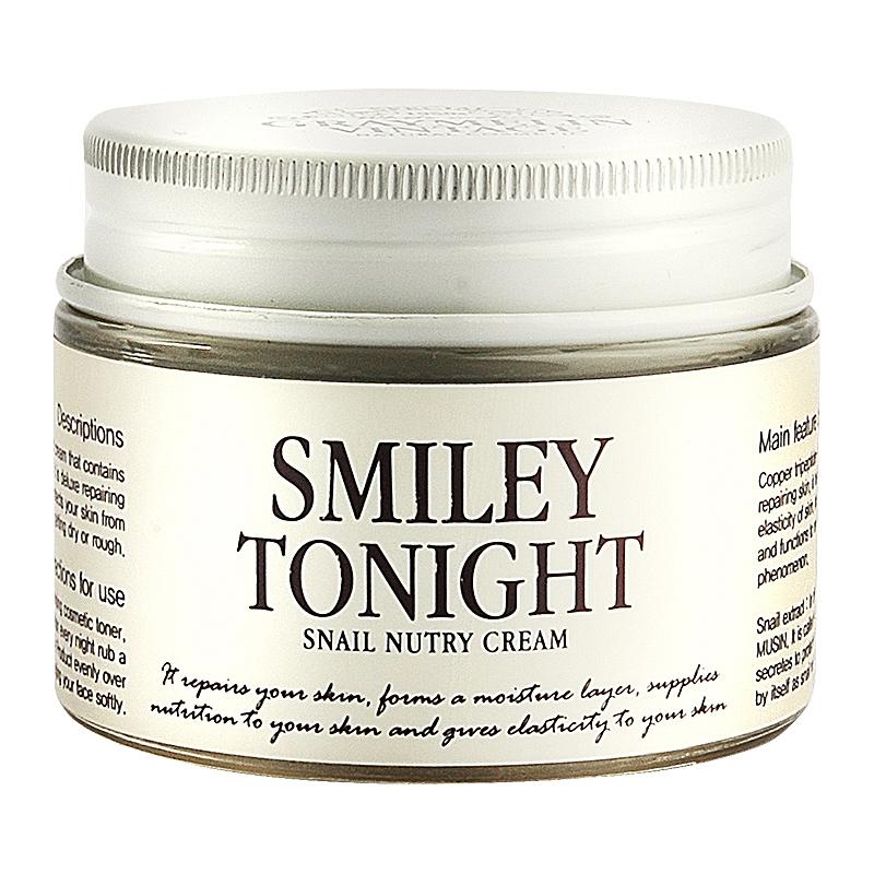 питательный крем с экстрактом слизи улитки graymelin smiley tonight snail nutry creamSmiley Tonight Snail Nutry Cream. Питательный крем с экстрактом слизи улитки.<br><br>В состав средств &amp;nbsp;Smiley Tonight входит экстракт слизи улитки, который ускоряет процессы регенерации и способствует обновлению &amp;nbsp;кожи. Улиточная слизь обладает противовоспалительным, заживляющим и увлажняющим действиями. Она эффективно борется с первыми признаками возрастных изменений кожи лица, делая её более упругой и эластичной. <br><br>&amp;nbsp;<br><br>В состав серии Smiley Tonight также входят и другие полезные компоненты:<br><br><br>Масло ши интенсивно питает сухую кожу.<br><br>Human Oligopeptide-1 – фактор роста эпителиальных клеток, восстанавливает поврежденную кожу, ускоряет процессы регенерации, увеличивает &amp;nbsp;эластичность и борется с первым признакам старения.<br><br>Экстракт центеллы азиатской лечит повреждения и восстанавливает кожу, препятствуя появлению шрамов<br><br>Copper tripeptide-1 – эффективно восстанавливает поврежденную кожу, повышает эластичность кожи &amp;nbsp;и предупреждает преждевременное старение.<br><br><br>&amp;nbsp;<br><br>Крем интенсивно питает сухую кожу и защищает её от негативного воздействия внешних факторов.<br><br>&amp;nbsp;<br><br>Применение: После применения эмульсии нанесите необходимое количество крема и равномерно распределите по коже лица массирующими движениями.<br><br>Меры предосторожности: &amp;nbsp;Не используйте на поврежденной коже. &amp;nbsp;При появлении следующих симптомов прекратите использование: раздражение, сыпь, покраснение, зуд. При попадании в глаза, немедленно промойте теплой водой.<br><br>&amp;nbsp;<br><br>Состав: Snail Secretion Filtrate,Glycerine,Butyrospermum Parkii (Shea Butter),Butylene Glycol,Bis-PEG-18 Methyl Ether Dimethyl Silane,Cetyl Alcohol,Sodium Hyaluronate,Cetearyl Olivate/Sorbitan Olivate,Dimethicone,Sodium Chondroitin Sulfate,Beta-Glucan,Scutellaria Baicalensis Root Extract,Paeonia Suffruticosa Ro