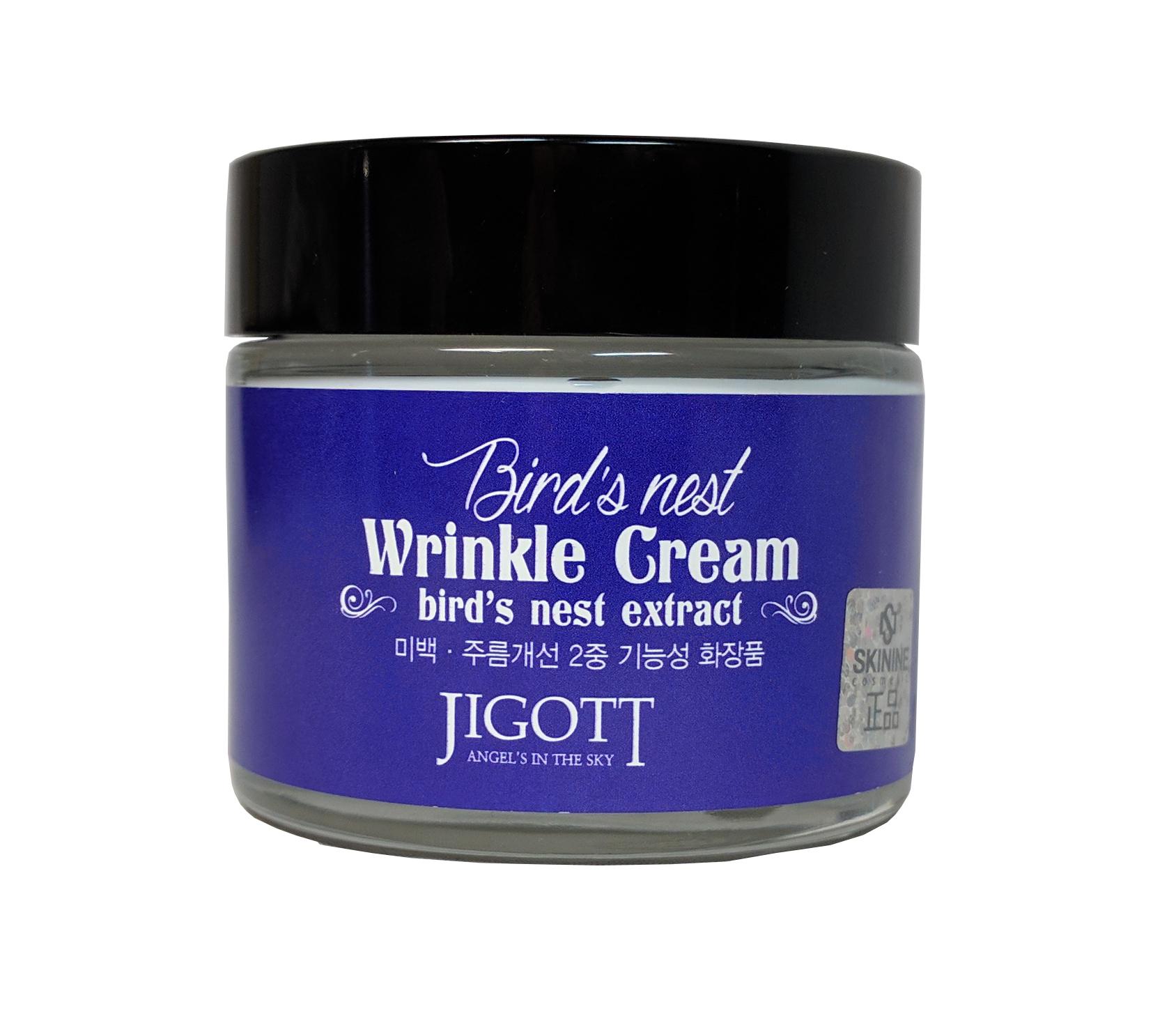 антивозрастной крем с экстрактом ласточкиного гнезда jigott bird's nest wrinkle creamBird's Nest Wrinkle Cream. Антивозрастной крем с экстрактом ласточкиного гнезда<br><br>Крем с экстрактом ласточкиного гнезда улучшает общее состояние кожи, разглаживает морщины и препятствует появлению новых, обеспечивает эффект лифтинга, освежает и смягчает кожу.<br><br>Ласточкино гнездо – это ценнейший косметический ингредиент. Экстракт ласточкиного гнезда – источник важных минералов, полисахаридов и антиоксидантов. В восточной медицине этот продукт признан лучшим косметическим средством с потрясающим омолаживающим эффектом.<br><br>Ниацинамид в составе крема является активным компонентом для клеточного обновления кожи. Он стимулирует синтез коллагена, выработку кожных церамидов и липидов, способствует выработке кожного иммунитета к негативному воздействию окружающей среды.<br><br>Применение:&amp;nbsp;Используйте как завершающий этап ухода за кожей. Небольшое количество крема нанесите на лицо и шею, нежными похлопывающими движениями распределите крем по поверхности кожи.<br><br>Меры предосторожности:&amp;nbsp;Только для наружного применения. Избегать попадания в глаза. При попадании в глаза немедленно промыть водой. Не наносить на поврежденные участки кожи. При появлении раздражения прекратить использование.<br><br>Срок годности:&amp;nbsp;3 года с даты производства.<br><br>Объем:&amp;nbsp;70 мл<br><br>&amp;nbsp;<br>
