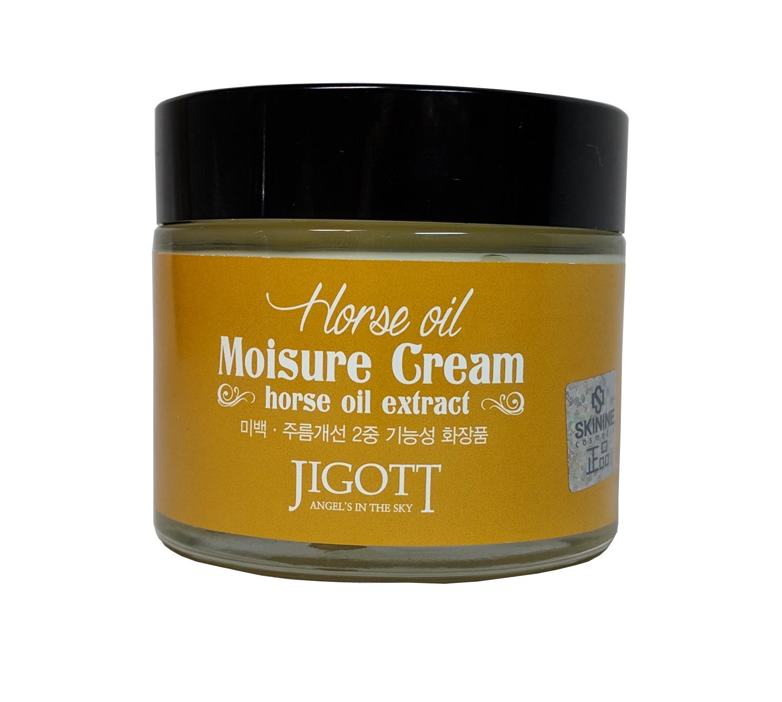 увлажняющий крем с лошадиным маслом jigott horse oil moisture creamHorse Oil Moisture Cream. Увлажняющий крем с лошадиным маслом<br><br>Лошадиный жир содержит большое количество ненасыщенных жирных кислот, витаминов, минералов. Восстанавливает клетки кожи и способствует их скорейшей регенерации, насыщает кожу влагой и удерживает ее длительное время. <br><br>Крем с лошадиным жиром обогащает кожу питательными веществами и помогает ей стать здоровой, увлажненной и сияющей. <br><br><br>Ниацинамид улучшает эластичность кожи, помогает удалить возрастные пятна и улучшает тонус кожи и ее текстуру, осветляет и выравнивает тон кожи. <br><br>Аденозин активизирует производство коллагена и эластина, разглаживает мимические морщины, улучшает эластичность кожи и предотвращает ее старение.<br><br><br>Применение:&amp;nbsp;Используйте как завершающий этап ухода за кожей. Небольшое количество крема нанесите на лицо и шею, нежными похлопывающими движениями распределите крем по поверхности кожи.<br><br>Меры предосторожности:&amp;nbsp;Только для наружного применения. Избегать попадания в глаза. При попадании в глаза немедленно промыть водой. Не наносить на поврежденные участки кожи. При появлении раздражения прекратить использование.<br><br>Срок годности:&amp;nbsp;3 года с даты производства.<br><br>Объем:&amp;nbsp;70 мл<br><br>&amp;nbsp;<br>