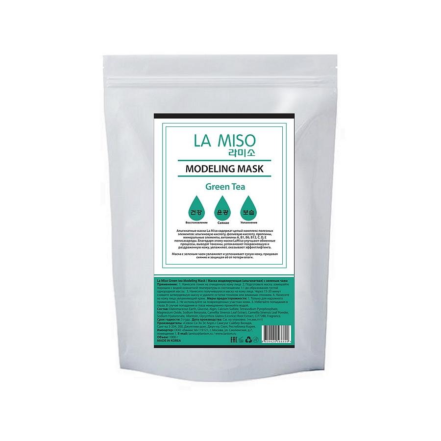 маска моделирующая (альгинатная) с зеленым чаемGreen tea Modeling Mask. Маска моделирующая (альгинатная) с зеленым чаем, содержит экстракт зеленого чая - великолепный природный антиоксидант,который стимулирует клеточное дыхание, ускоряет обменные процессы и способствует омоложению кожи лица.&amp;nbsp;Экстракт зеленого чая эффективно нейтрализует разрушительное действие свободных радикалов, предотвращая окисление клеток, которое и приводит к возникновению кожных воспалений, образованию пигментации, появлению морщин. Зеленый чай, благодаря своим полезным свойствам, используется для кожи любого типа.<br><br>Альгинатные маски La Miso содержат целый комплекс полезных элементов: альгиновую кислоту, фолиевую кислоту, протеины, минеральные элементы, витамины A, B1, B6, B12, C, D, E полисахариды.<br><br>&amp;nbsp;<br><br>Благодаря этому маски La Miso улучшают обменные процессы, выводят токсины, успокаивают покрасневшую и раздраженную кожу, увлажняют, оказывают эффект лифтинга.<br><br>&amp;nbsp;<br><br>Состав: Diatomaceous Earth, Glucose, Algin, Calcium Sulfate, Tetrasodium Pyrophosphate, Magnesium Oxide, Sodium Benzoate, Camellia Sinensis Leaf Extract, Camellia Sinensis Leaf Powder(0.5%), Sodium Hyaluronate, Allantoin, Glycyrrhiza Glabra Root Extract, CI77288, Fragrance<br><br>&amp;nbsp;<br><br>Применение: Нанесите тоник на очищенную кожу лица<br><br>Подготовьте маску. Размешайте порошок с водой комнатной температуры в соотношении 1:1 до образования густой однородной массы.<br><br>Нанесите получившуюся маску на кожу лица. Через 15-20 минут снимите затвердевшую маску и удалите остатки тоником или влажным спонжем.<br><br>Нанесите на кожу лица увлажняющий крем.<br><br>&amp;nbsp;<br><br>Меры предосторожности: Только для наружного применения<br><br>Не используйте на поврежденных участках кожи<br><br>Избегайте попадания в глаза. В случае попадания в глаза немедленно промойте водой.<br><br>&amp;nbsp;<br><br>Срок годности: 3 года<br><br>Дата производства: См. на упаковке (чч.мм.гггг