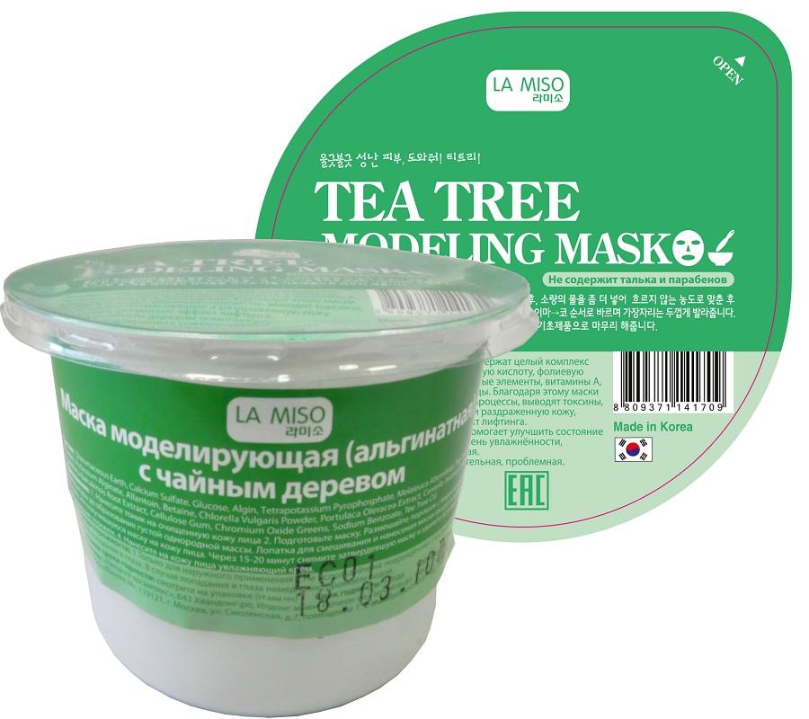 маска моделирующая с чайным деревом la miso маска альгинатная чайное деревоАльгинатные маски La Miso содержат целый комплекс полезных элементов: альгиновую кислоту, фолиевую кислоту, протеины, минеральные элементы, витамины A, B1, B6, B12, C, D, E полисахариды. Благодаря этому маски La Miso улучшают обменные процессы, выводят токсины, успокаивают покрасневшую и раздраженную кожу, увлажняют, оказывают эффект лифтинга. Маска с чайным деревом помогает улучшить состояние кожи, поддерживая уровень увлажнённости, успокаивая и охлаждая. Тип кожи: чувствительная, проблемная.<br><br>Состав:&amp;nbsp;Diatomaceous Earth, Calcium Sulfate, Glucose, Algin, Tetrapotassium Pyrophosphate, Melaleuca Alternifolia (Tea Tree) Leaf Powder, Potassium Alginate, Allantoin, Betaine, Chlorella Vulgaris Powder, Portulaca Oleracea Extract, Centella Asiatica Extract, Scutellaria Baicalensis Root Extract, Cellulose Gum, Chromium Oxide Greens, Sodium Benzoate, Tee Tree Oil&amp;nbsp;<br><br>Применение:&amp;nbsp;<br>1. Нанесите тоник на очищенную кожу лица<br>2. Подготовьте маску. Размешайте порошок с водой комнатной температуры до образования густой однородной массы. Лопатка для смешивания и нанесения маски входит в набор.<br>3. Нанесите получившуюся маску на кожу лица. Через 15-20 минут снимите затвердевшую маску и удалите остатки тоником или влажным спонжем.<br>4. Нанесите на кожу лица увлажняющий крем.<br><br>Меры предосторожности:<br>1.Только для наружного применения<br>2.Не используйте на поврежденных участках кожи<br>3. Избегайте попадания в глаза. В случае попадания в глаза немедленно промойте водой.<br><br>Вес г: 28.00000000