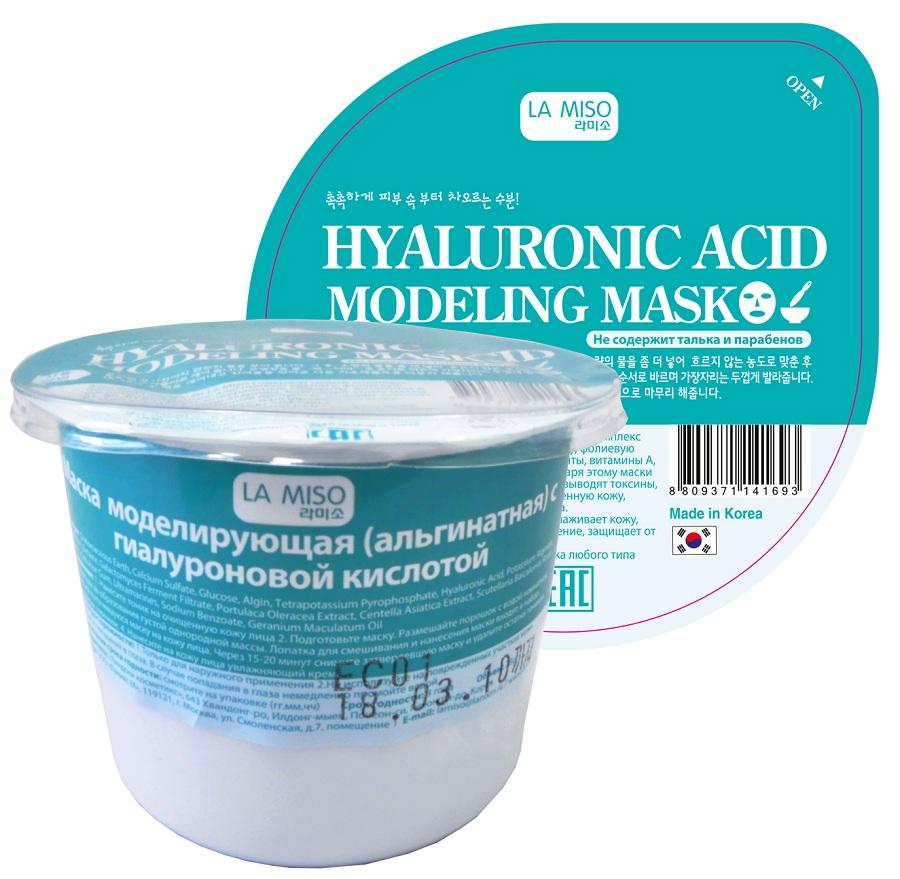маска моделирующая с гиалуроновой кислотой la miso маска альгинатная гиалуроновая кислотаАльгинатные маски La Miso содержат целый комплекс полезных элементов: альгиновую кислоту, фолиевую кислоту, протеины, минеральные элементы, витамины A, B1, B6, B12, C, D, Eполисахариды. Благодаря этому маски LaMiso улучшают обменные процессы, выводят токсины, успокаивают покрасневшую и раздраженную кожу, увлажняют, оказывают эффект лифтинга. Маска с гиалуроновой кислотой разглаживает кожу, обеспечивает интенсивное увлажнение, защищает от потери упругости. Тип кожи: обезвоженная кожа любого типа<br><br>&amp;nbsp;<br><br>Состав:&amp;nbsp;Diatomaceous Earth, Calcium Sulfate, Glucose, Algin, Tetrapotassium Pyrophosphate, Hyaluronic Acid, Potassium Alginate, Allantoin, Betaine, Galactomyces Ferment Filtrate, Portulaca Oleracea Extract, Centella Asiatica Extract, Scutellaria Baicalensis Root Extract, Cellulose Gum, Ultramarines, Sodium Benzoate, Geranium Maculatum Oil<br><br>&amp;nbsp;<br><br>Применение:<br><br>1. Нанесите тоник на очищенную кожу лица<br><br>2. Подготовьте маску. Размешайте порошок с водой комнатной температуры до образования густой однородной массы. Лопатка для смешивания и нанесения маски входит в набор.<br><br>3. Нанесите получившуюся маску на кожу лица. Через 15-20 минут снимите затвердевшую маску и удалите остатки тоником или влажным спонжем.<br><br>4. Нанесите на кожу лица увлажняющий крем.<br><br>&amp;nbsp;<br><br>Меры предосторожности:<br><br>1. Только для наружного применения<br>2. Не используйте на поврежденных участках кожи<br><br>3. Избегайте попадания в глаза. В случае попадания в глаза немедленно промойте водой.<br><br>Вес г: 28.00000000