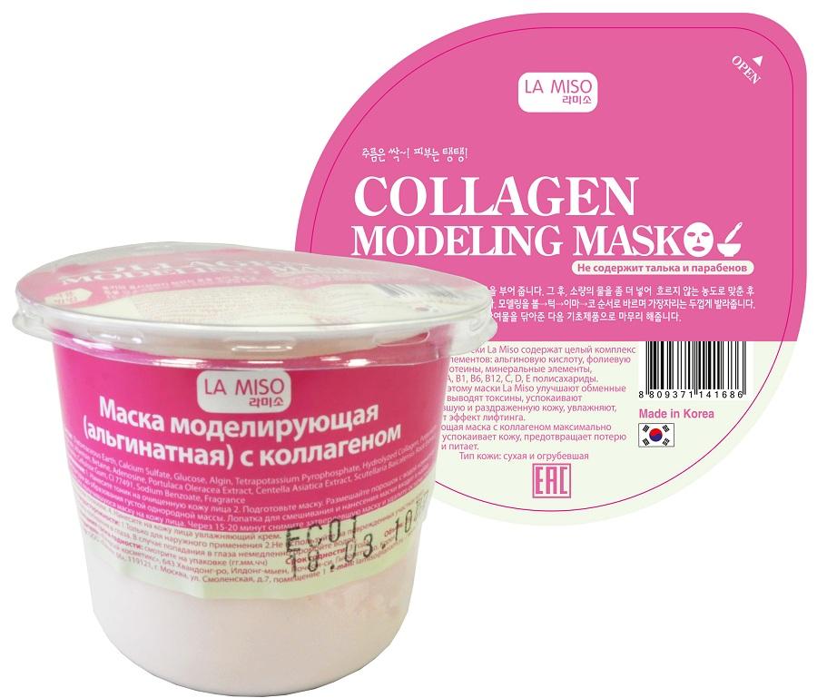 маска моделирующая с коллагеном la miso collagen modeling maskАльгинатные маски LaMiso содержат целый комплекс полезных элементов: альгиновую кислоту, фолиевую кислоту, протеины, минеральные элементы, витамины A, B1, B6, B12, C, D, Eполисахариды. Благодаря этому маски LaMiso улучшают обменные процессы, выводят токсины, успокаивают покрасневшую и раздраженную кожу, увлажняют, оказывают эффект лифтинга. Увлажняющая маска с коллагеном максимально быстро успокаивает кожу, предотвращает потерю влаги и питает. Тип кожи: сухая и огрубевшая<br><br>&amp;nbsp;<br><br>Состав:&amp;nbsp;&amp;nbsp;Diatomaceous Earth, Calcium Sulfate, Glucose, Algin, Tetrapotassium Pyrophosphate, Hydrolyzed Collagen, Potassium Alginate, Allantoin, Betaine, Adenosine, Portulaca Oleracea Extract, Centella Asiatica Extract, Scutellaria Baicalensis Root Extract, Bentonite, Cellulose Gum, CI 77491, Sodium Benzoate, Fragrance<br>&amp;nbsp;<br><br>Применение:<br><br>1. Нанесите тоник на очищенную кожу лица<br><br>2. Подготовьте маску. Размешайте порошок с водой комнатной температуры до образования густой однородной массы. Лопатка для смешивания и нанесения маски входит в набор.<br><br>3. Нанесите получившуюся маску на кожу лица. Через 15-20 минут снимите затвердевшую маску и удалите остатки тоником или влажным спонжем.<br><br>4. Нанесите на кожу лица увлажняющий крем.<br>&amp;nbsp;<br><br>Меры предосторожности:<br><br>1. Только для наружного применения<br>2. Не используйте на поврежденных участках кожи<br><br>3. Избегайте попадания в глаза. В случае попадания в глаза немедленно промойте водой.<br><br>Вес г: 28.00000000