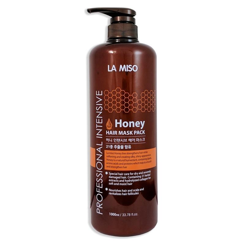 маска для волос la miso professional intensive honey hair maskProfessional Intensive Honey Hair Mask. Маска для волос<br><br>Профессиональная серия для ухода за волосами содержит экстракт меда, богатый липидами, аминокислотами и протеинами, которые укрепляют и способствуют восстановлению сильно поврежденных волос.<br><br>Специальная формула на основе 21 растительного экстракта и цветочной воды лаванды и кипариса обеспечивает бережный уход как за волосами, так и за кожей головы.<br><br>Гидролизированный коллаген в составе средства увлажняет, повышает эластичность и прочность волос, хорошо влияет на секущиеся волосы. Маска интенсивно восстанавливает поврежденные волосы и защищает от ежедневного негативного воздействия, делая их здоровыми и сильными.<br><br>Волосы приобретают блеск и шелковистость, легко расчесываются и укладываются.<br><br>Подходит для сухих, поврежденных, окрашенных волос.<br><br>Способ применения: Нанесите небольшое количество маски на влажные волосы после применения шампуня. Равномерно распределите по длине волос. Через 3-5 минут тщательно смойте теплой водой.<br><br>Меры предосторожности: не используйте на поврежденной коже. При появлении следующих симптомов прекратите использование: раздражение, сыпь, покраснение зуд.<br><br>Объем: 1000 мл<br>