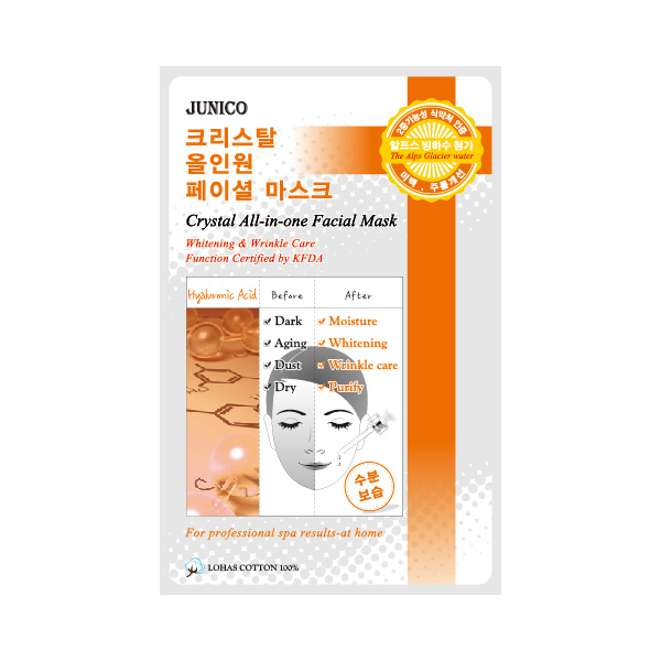 маска тканевая c гиалуровой кислотой  mijin junico crystal all-in-one facial mask hyaluronicJunico Crystal All-in-one Facial Mask Hyaluronic. Маска тканевая c гиалуровой кислотой сильно впитывающая и очень эффективная для стягивания пор кожи и удаления отходов. Это сохраняет в коже влагу и упругость в течение 24 часов. Ее функции одобрены KFDA, маска может значительно помочь с отбеливанием кожи и удалением морщин.<br><br>Способ применения: Поместите маску на очищеное лицо обеспечив хороший контакт с&amp;nbsp; кожей лица по всей площади нанесения. Снимите через 10-15 минут. Оставшуюся на лице эссенцию аккуратно разгладьте пальцами по косметическим линиям для лучшего впитывания в кожу.&amp;nbsp; &amp;nbsp;<br><br>Объем: 25гр<br><br>Дата изготовления&amp;nbsp; (срок годности) указана на&amp;nbsp; упаковке<br><br>Вес г: 25.00000000