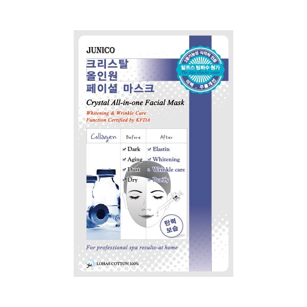маска тканевая c коллагеном mijin junico crystal all-in-one facial mask collagenJunico Crystal All-in-one Facial Mask Collagen. Маска тканевая c коллагеном сильно впитывающая и очень эффективная для стягивания пор кожи и удаления отходов. Это сохраняет в коже влагу и упругость в течение 24 часов. Ее функции одобрены KFDA, маска может значительно помочь с отбеливанием кожи и удалением морщин.<br><br>Способ применения: Поместите маску на очищеное лицо обеспечив хороший контакт с&amp;nbsp; кожей лица по всей площади нанесения. Снимите через 10-15 минут. Оставшуюся на лице эссенцию аккуратно разгладьте пальцами по косметическим линиям для лучшего впитывания в кожу.&amp;nbsp; &amp;nbsp;<br><br>Объем: 25гр<br><br>Дата изготовления&amp;nbsp; (срок годности) указана на&amp;nbsp; упаковке<br><br>Вес г: 25.00000000