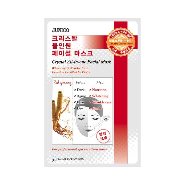 маска тканевая c красным женьшенем  mijin junico crystal all-in-one facial mask red ginsengJunico Crystal All-in-one Facial Mask Red ginseng. Маска тканевая c красным женьшенем сильно впитывающая и очень эффективная для стягивания пор кожи и удаления отходов. Это сохраняет в коже влагу и упругость в течение 24 часов. Ее функции одобрены KFDA, маска может значительно помочь с отбеливанием кожи и удалением морщин.<br><br>Способ применения: Поместите маску на очищеное лицо обеспечив хороший контакт с&amp;nbsp; кожей лица по всей площади нанесения.Снимите через 10-15 минут. Оставшуюся на лице эссенцию аккуратно разгладьте пальцами по косметическим линиям для лучшего впитывания в кожу.&amp;nbsp;&amp;nbsp; <br><br>Объем: 25гр<br><br>Дата изготовления&amp;nbsp; (срок годности) указана на&amp;nbsp; упаковке<br><br>Вес г: 25.00000000