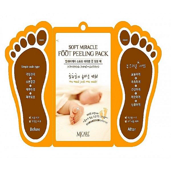 пилинг для ногSoft Miracle Foot Peeling Pack. Пилинг для ног<br><br>Простое в использовании и очень эффективное средство для ухода за кожей ног. Высококонцентрированный пилинг MJ SOFT Miracle Foot Peeling Pack позволяет за одно применение добиться видимого результата – грубая, потрескавшаяся кожа ног отшешлушивается, исчезают натоптыши и мозоли, трещины заживают.<br><br>&amp;nbsp;<br><br>Активные компоненты пилинга оказывают бактерицидное и противовоспалительное действие, снижают потливость ног.<br><br>&amp;nbsp;<br><br>Растительные экстракты в составе пилинга смягчают и увлажняют кожу, способствуют более интенсивному обновлению клеток кожи – пяточки становятся гладкими и мягкими.<br><br>&amp;nbsp;<br><br>Способ применения: В носочки налить пилинг и надеть их на чистые ноги, оставить на 1-1,5 часа, после этого носочки снять, а ноги ополоснуть теплой водой.<br><br>Примерно через 3-4 дня начинает отшелушиваться омертвевшая кожа. Полностью кожа обновляется через 2 недели.<br><br>&amp;nbsp;<br><br>,Объм: 2х15гр<br><br>Вес г: 30.00000000